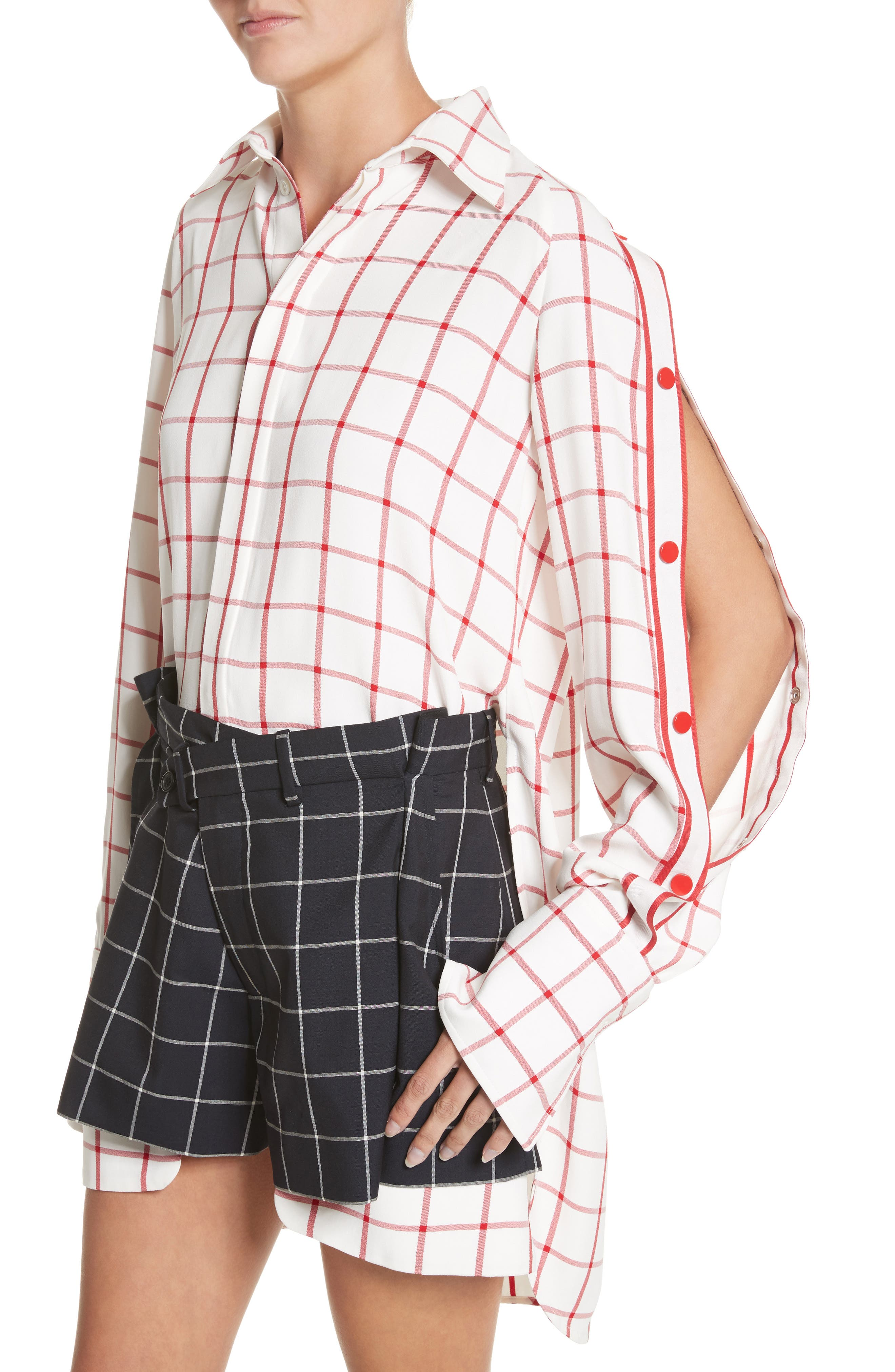 Windowpane Plaid Snap Sleeve Shirt,                             Alternate thumbnail 4, color,                             Ivory/ Red