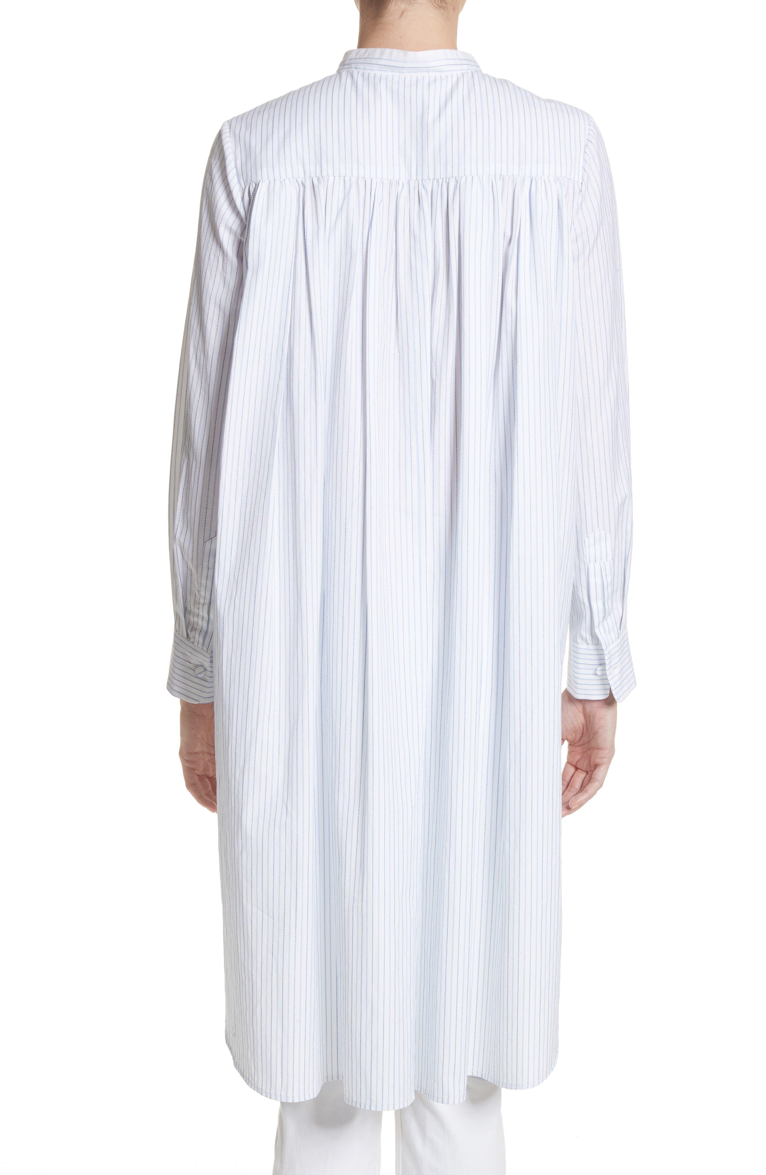 High/Low Stripe Cotton Poplin Shirt,                             Alternate thumbnail 2, color,                             White/ Blue