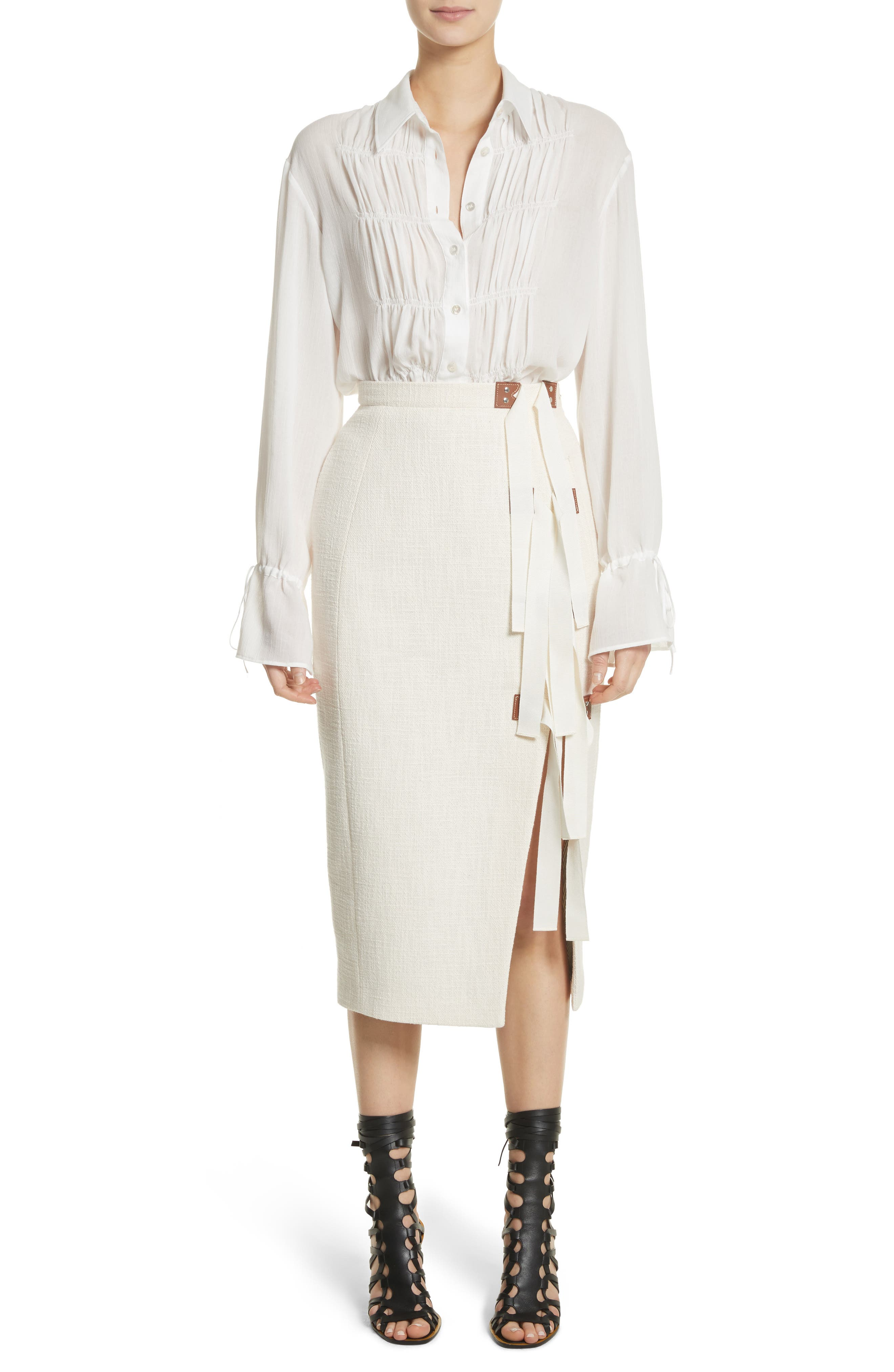 Ruched Detail Blouse,                             Alternate thumbnail 8, color,                             Optic White