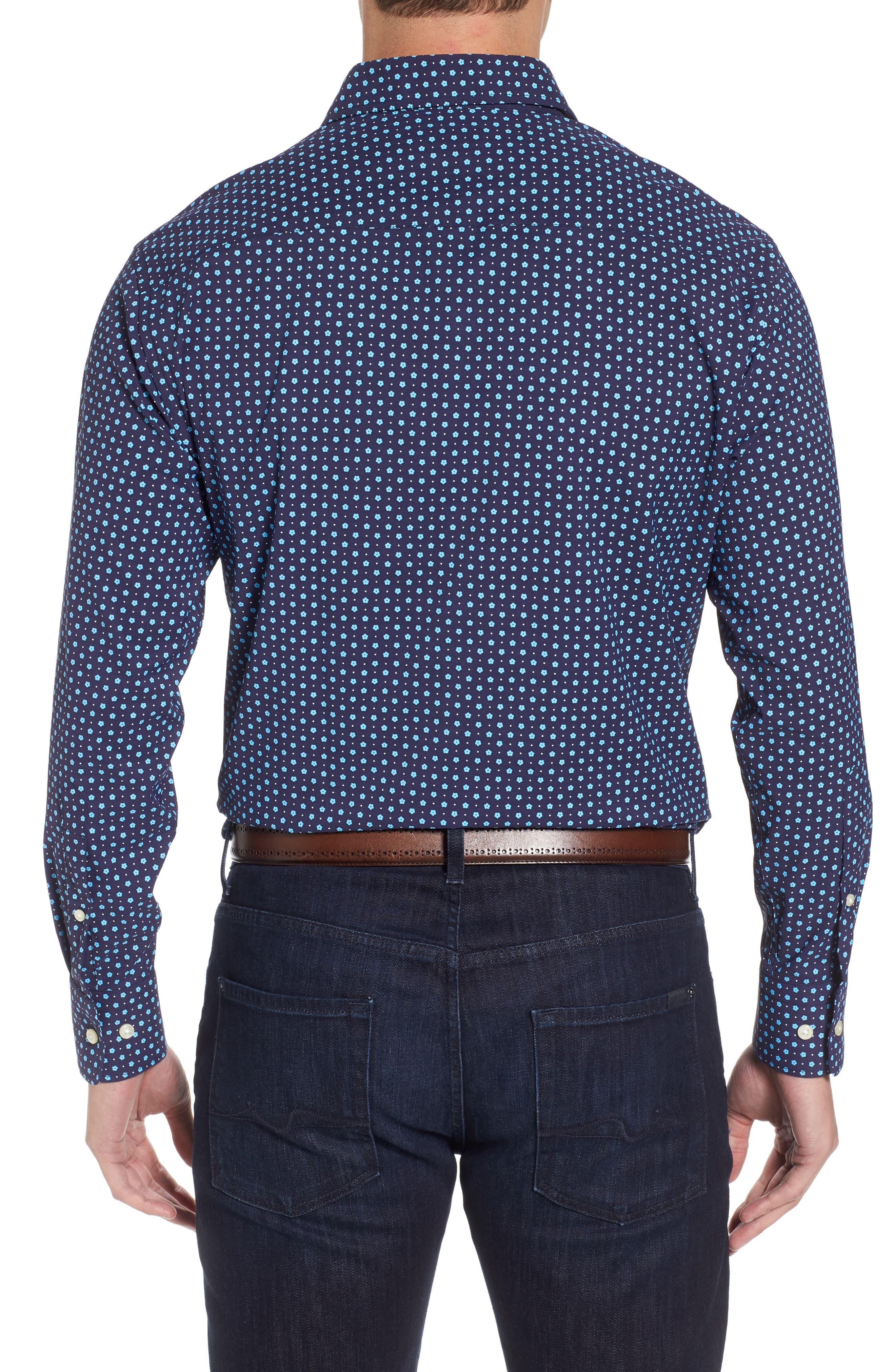 Jennings Regular Fit Floral Dot Performance Sport Shirt,                             Alternate thumbnail 2, color,                             Yankee Blue