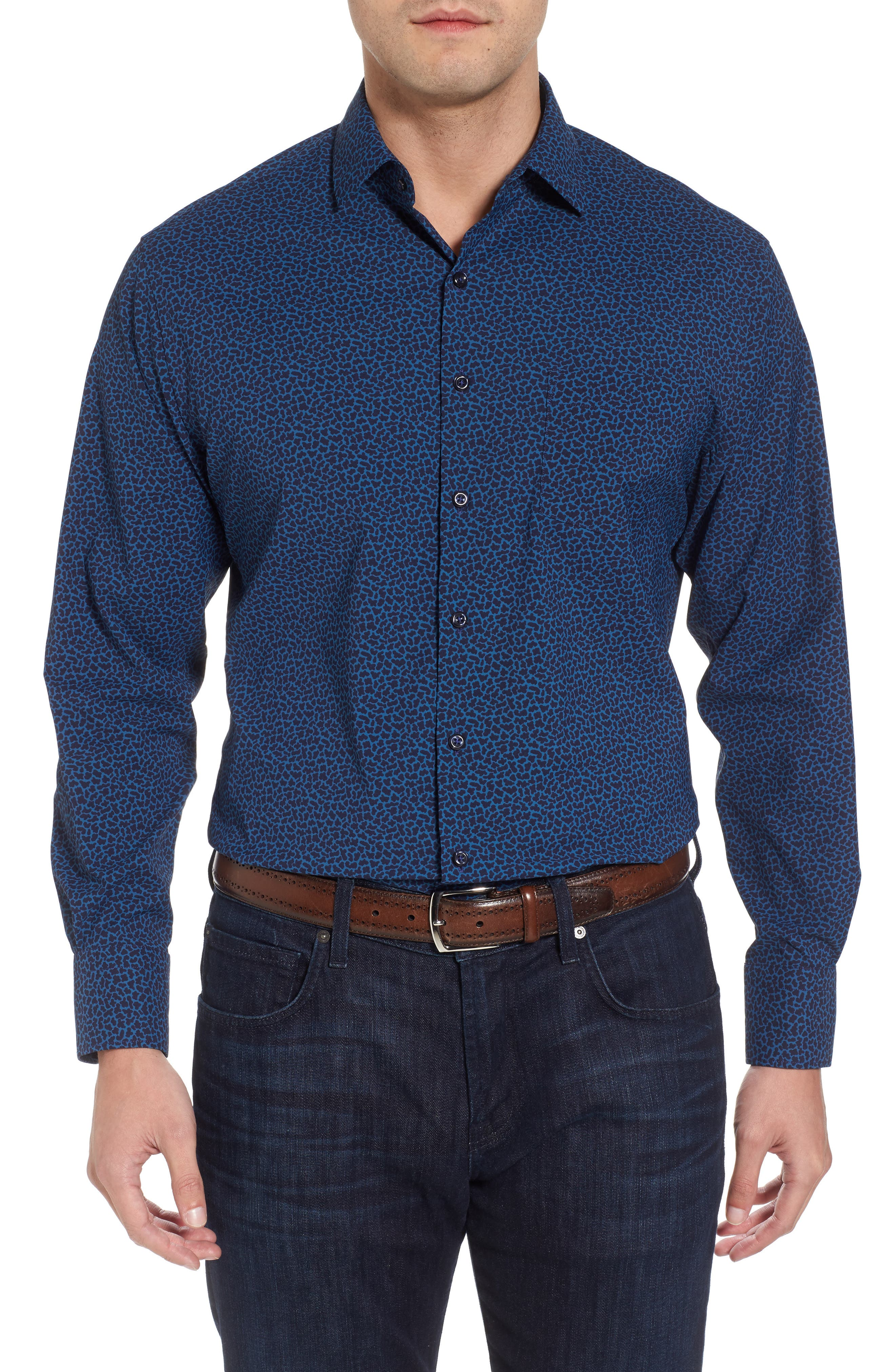 Townson Regular Fit Mini Camo Performance Sport Shirt,                             Main thumbnail 1, color,                             Yankee Blue