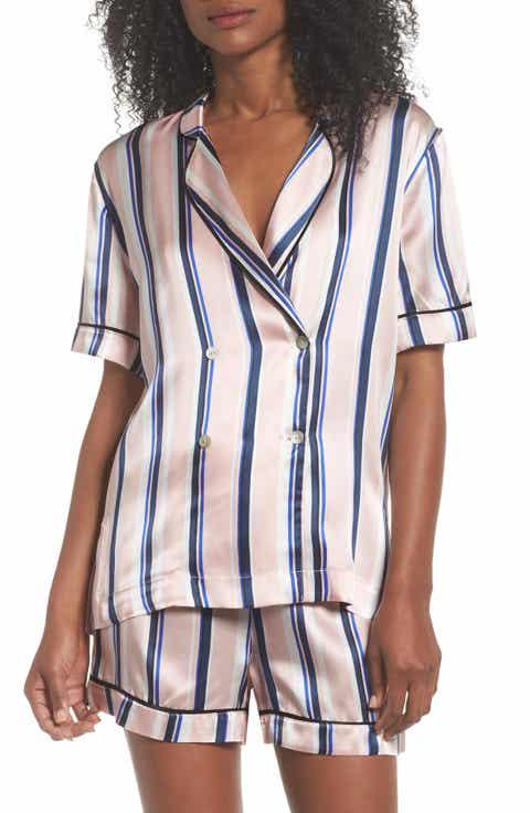 Hesper Fox Nova Lisbon Stripe Short Silk Pajamas