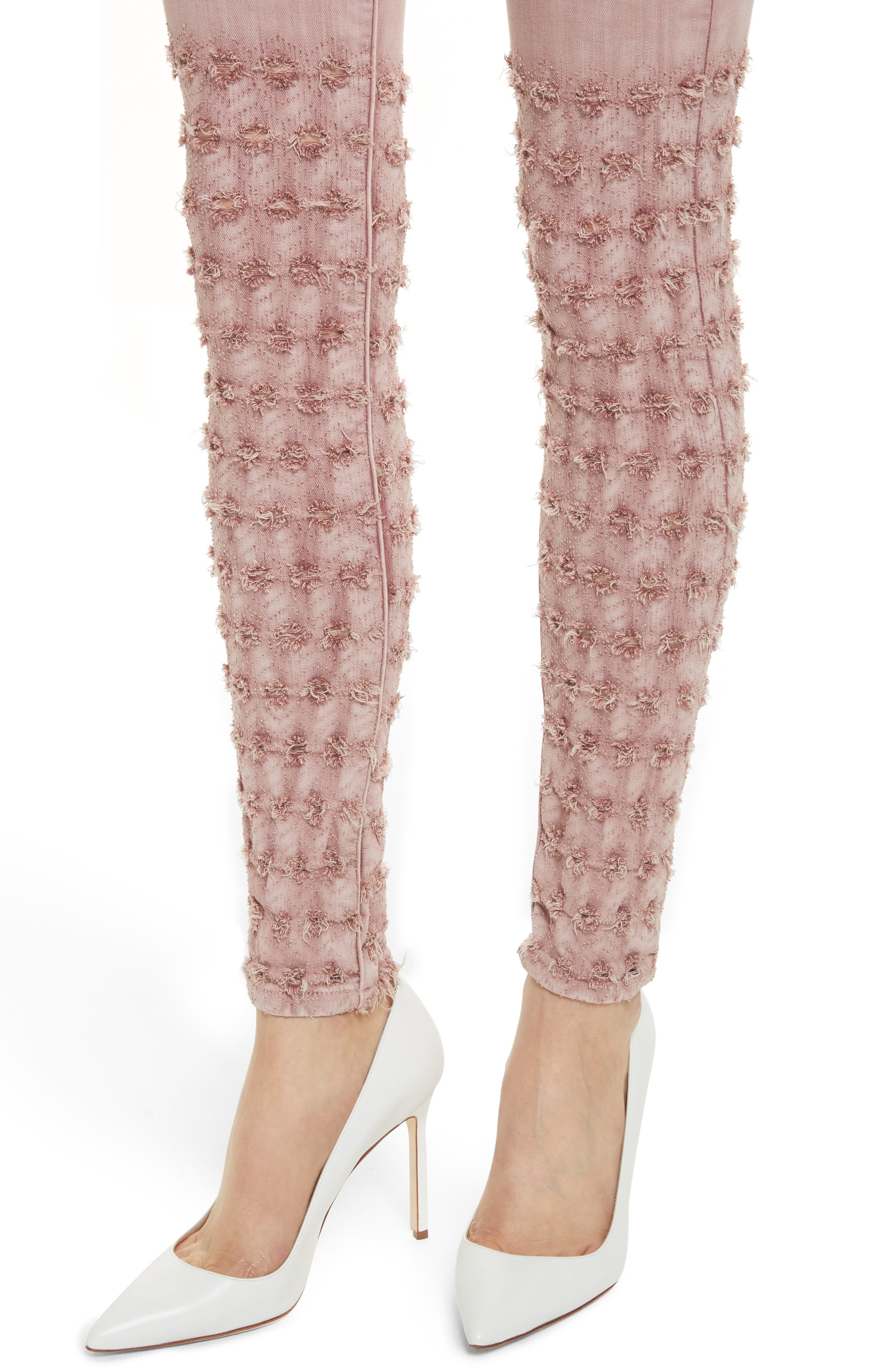 Emma Embroidered Skinny Jeans,                             Alternate thumbnail 4, color,                             Rose