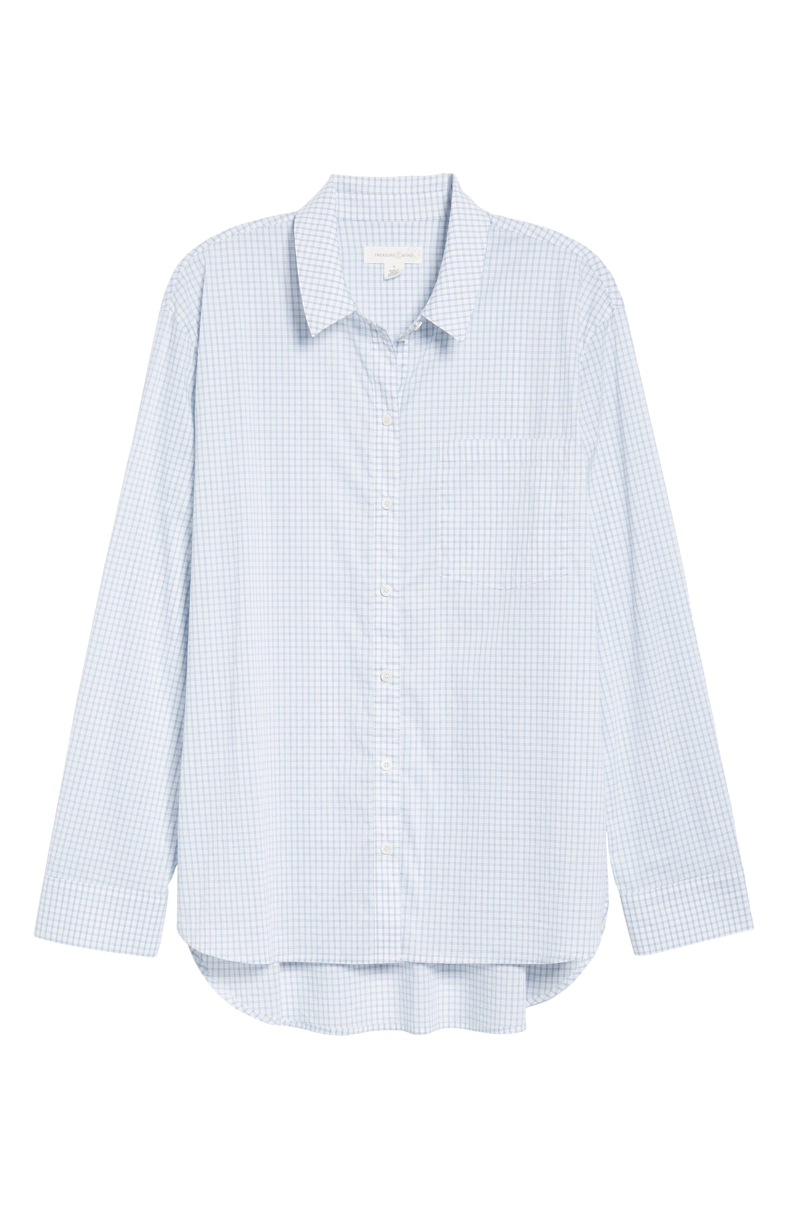 Oversize Check Shirt,                             Alternate thumbnail 6, color,                             White Blue Poplin Check