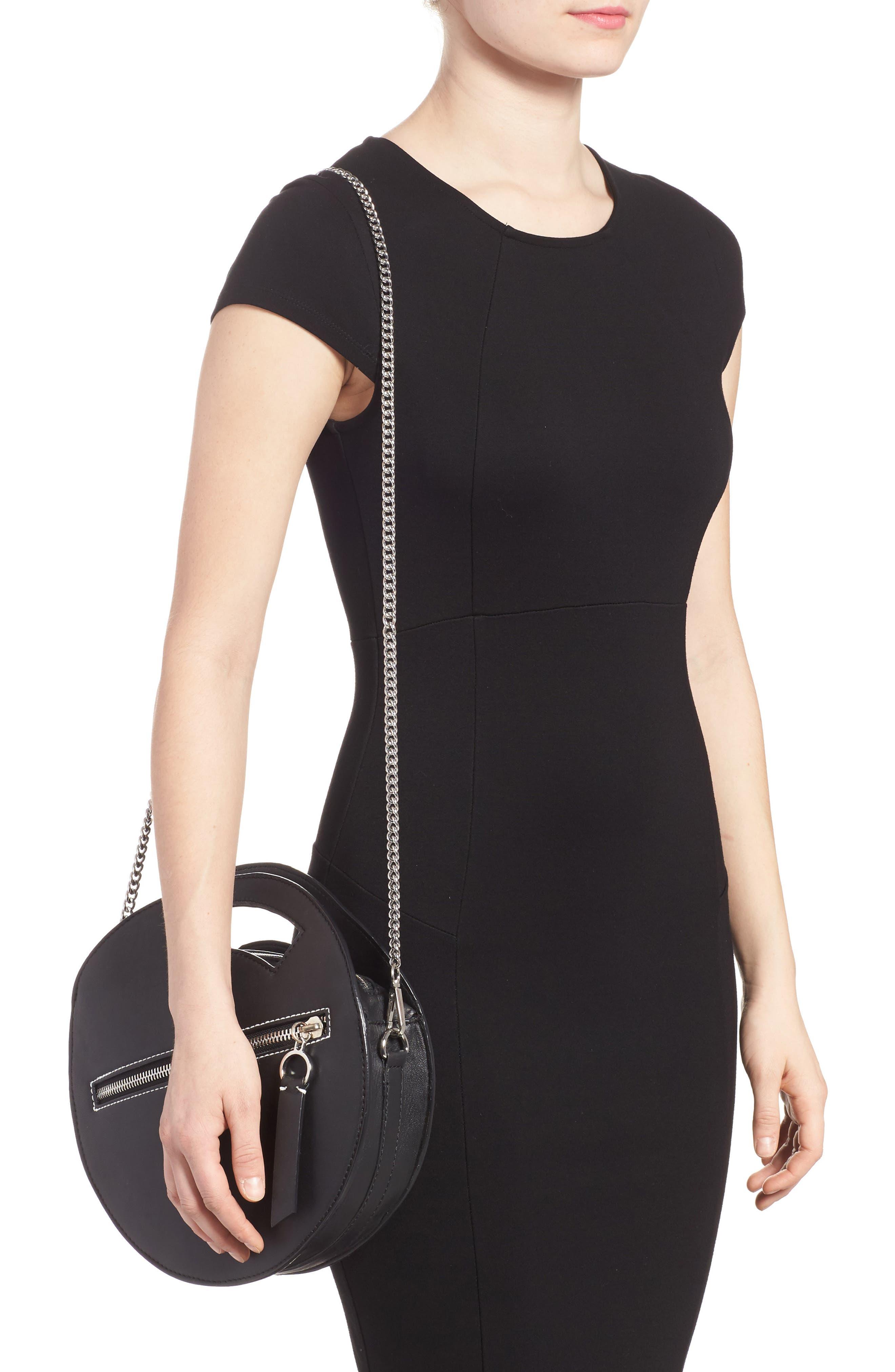 Premium Leather Circle Crossbody Bag,                             Alternate thumbnail 2, color,                             Black