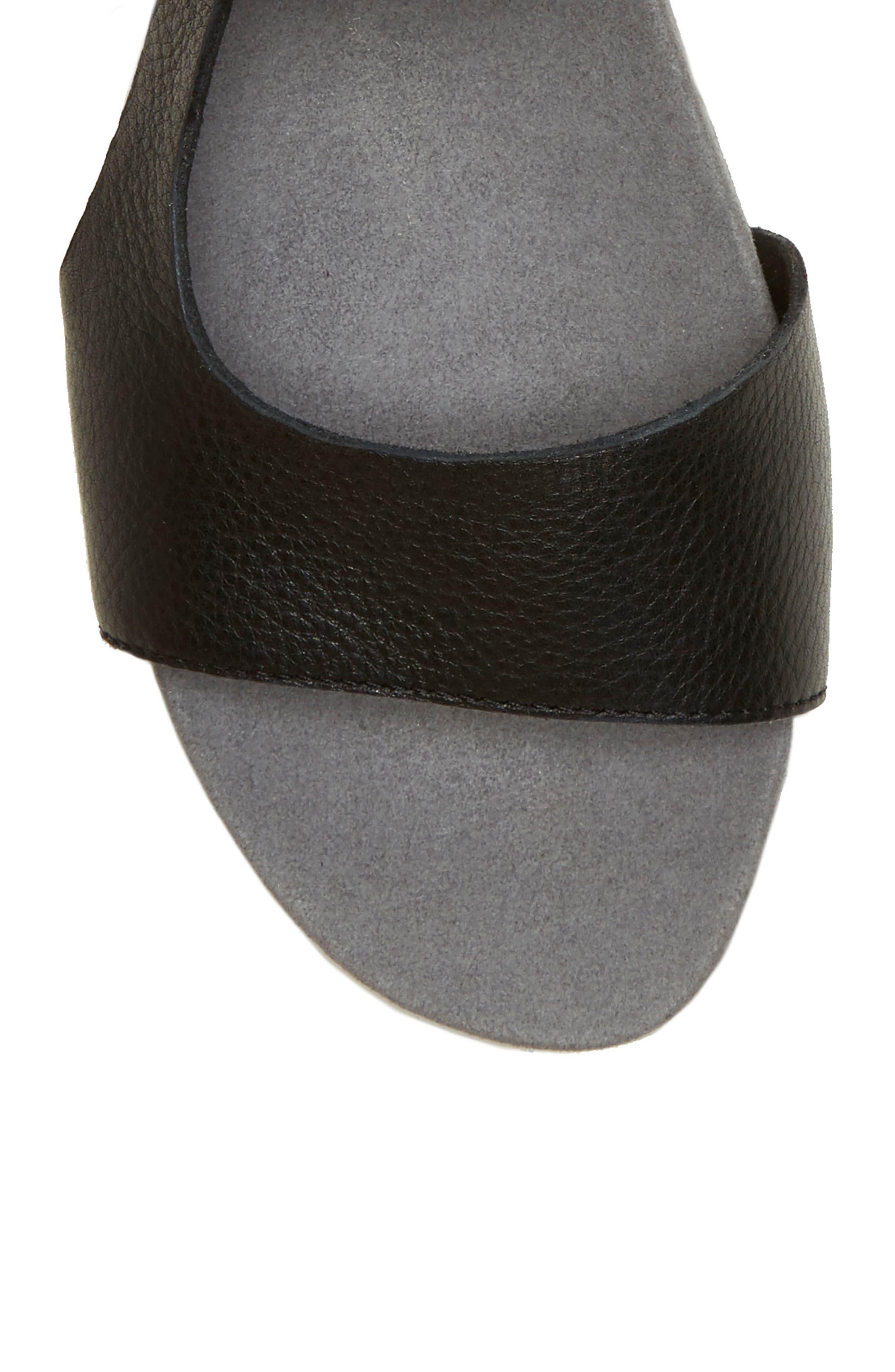 Caspin Sandal,                             Alternate thumbnail 5, color,                             Black Leather