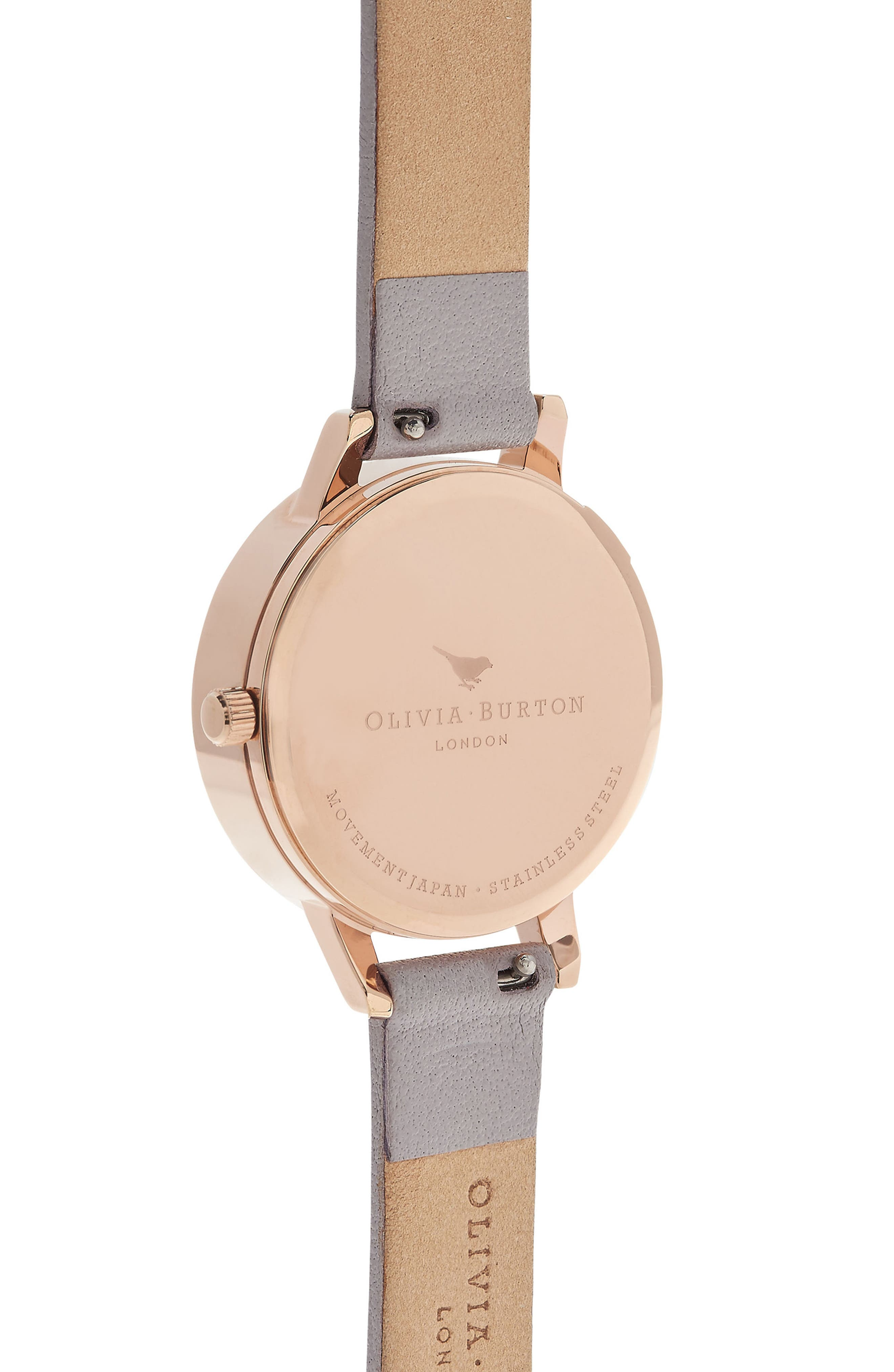 Alternate Image 2  - Olivia Burton Abstract Florals Leather Strap Watch, 30mm