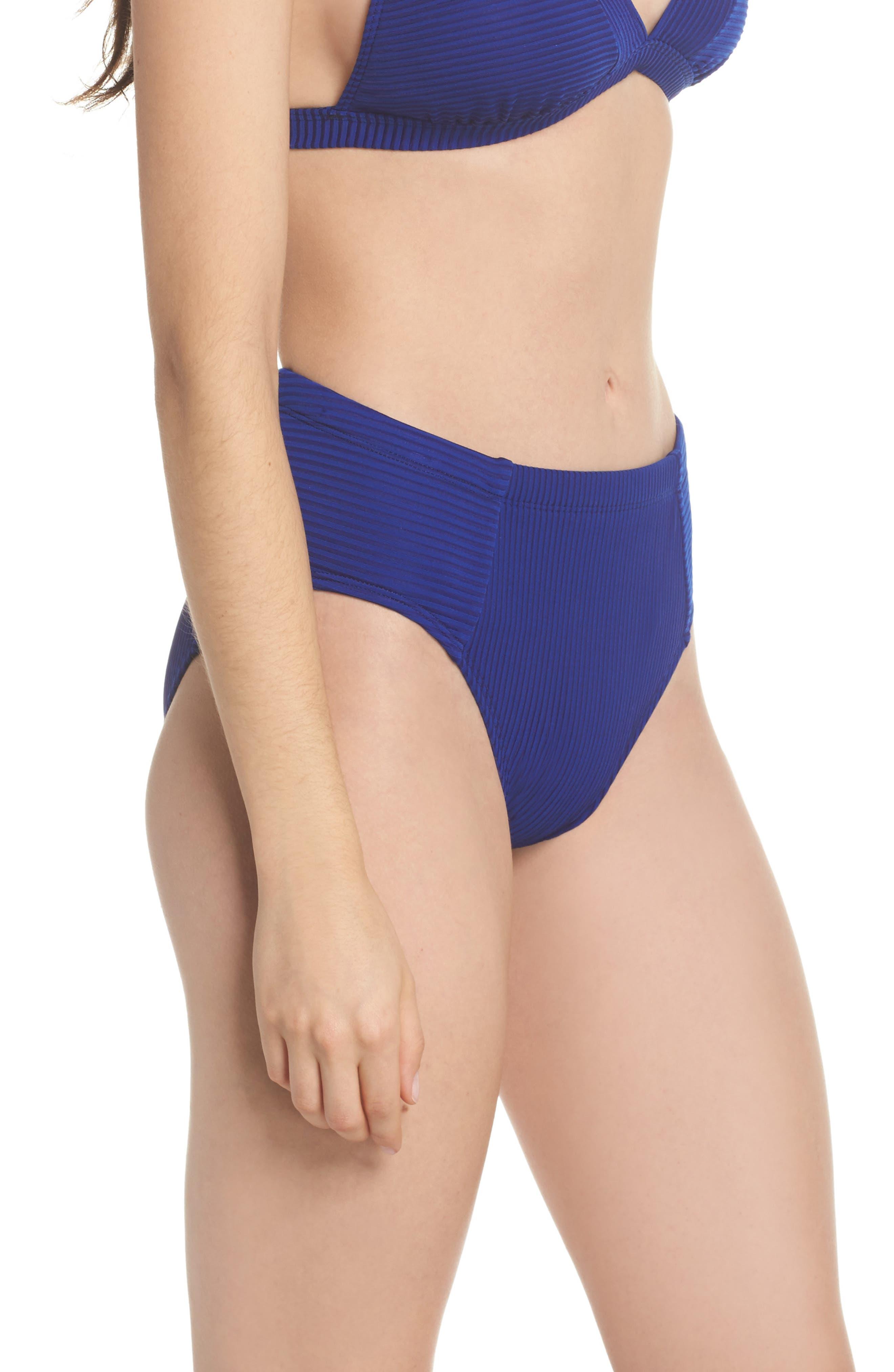 Becca High Waist Bikini Bottoms,                             Alternate thumbnail 3, color,                             Apollo Blue