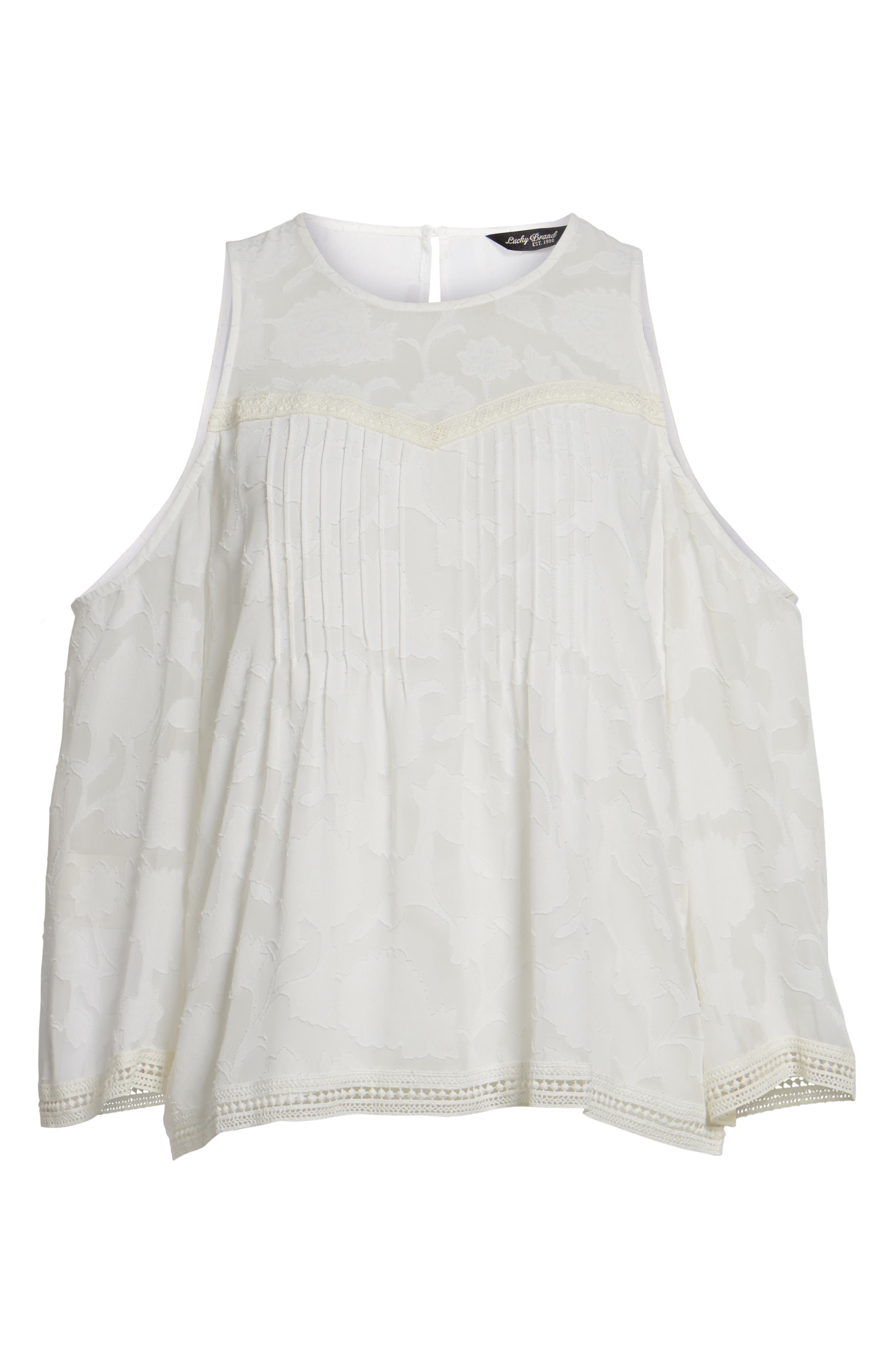 Cold Shoulder Jacquard Shirt,                             Alternate thumbnail 6, color,                             Lucky White