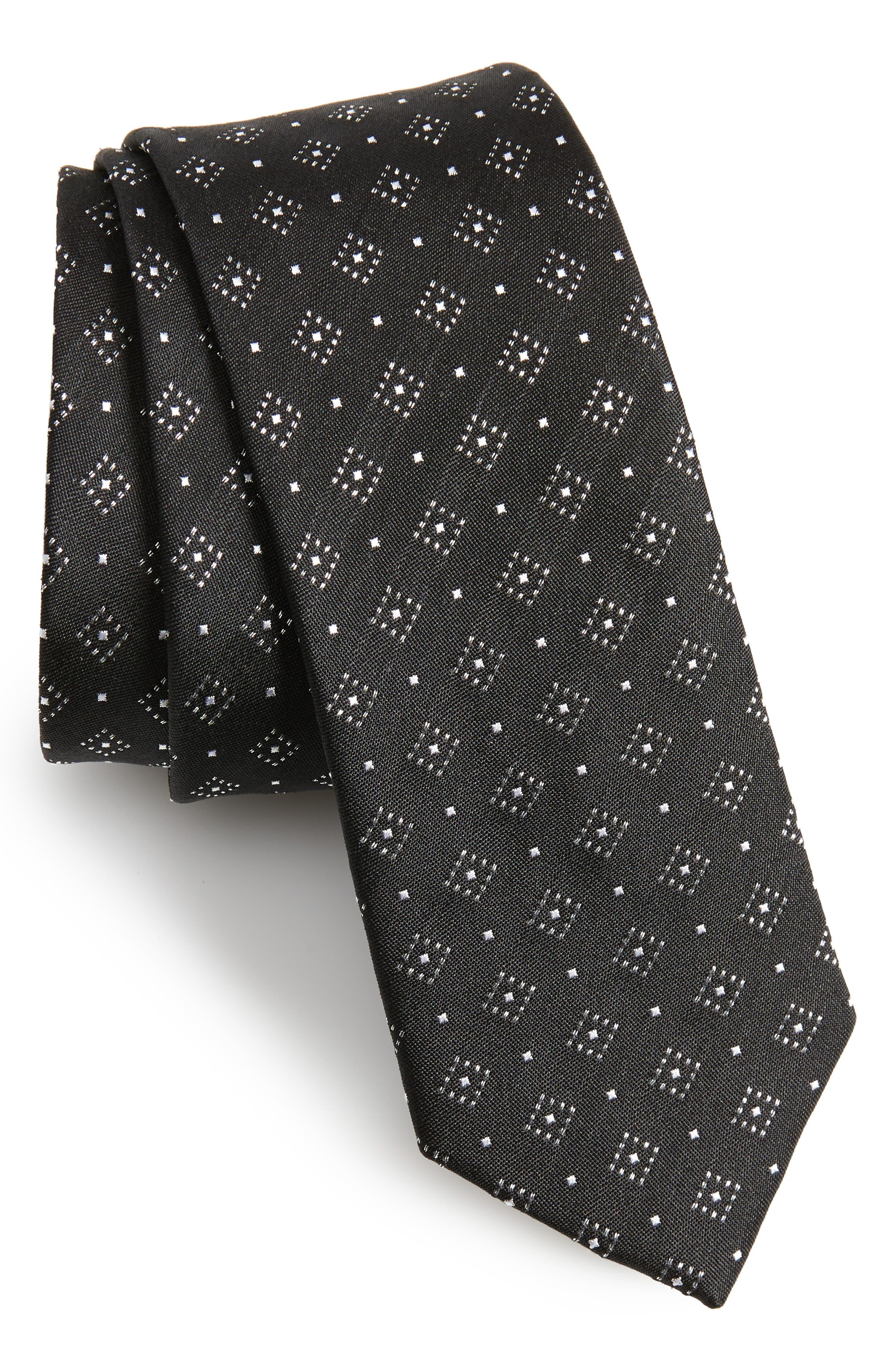 Gemstone Gala Silk Skinny Tie,                         Main,                         color, Black