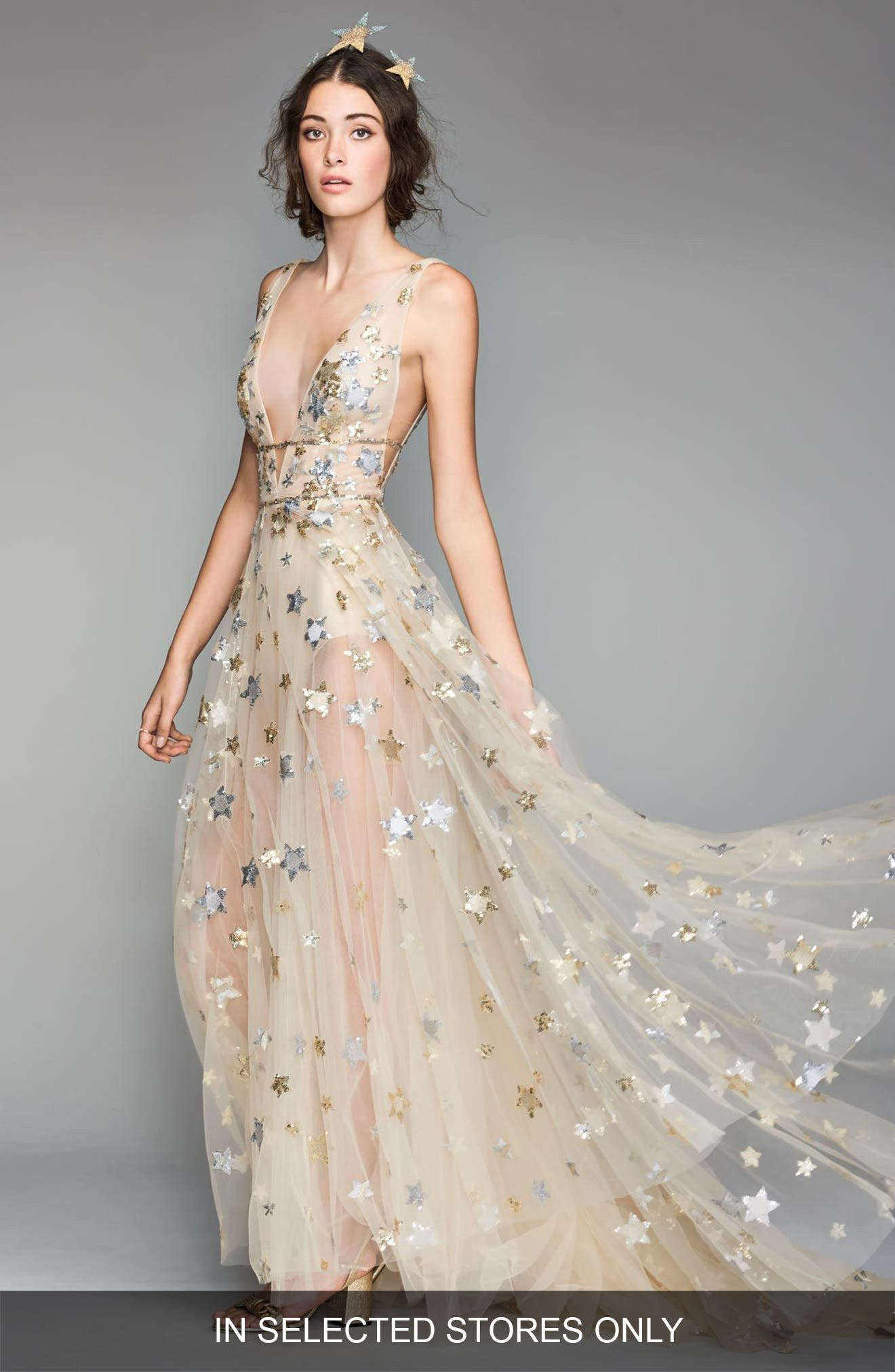 Orion Tulle & Charmeuse Plunging A-Line Gown,                         Main,                         color, Soft Gold