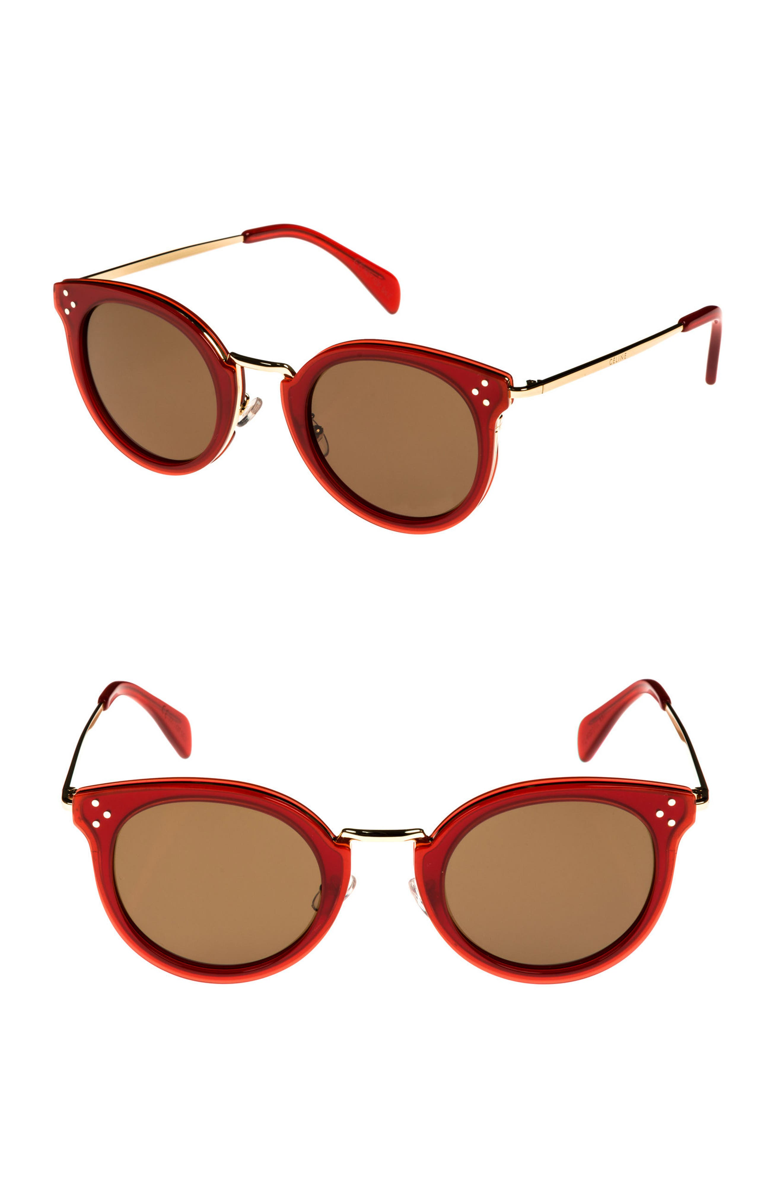 49mm Round Sunglasses,                         Main,                         color, Milky Red/ Pale Gold