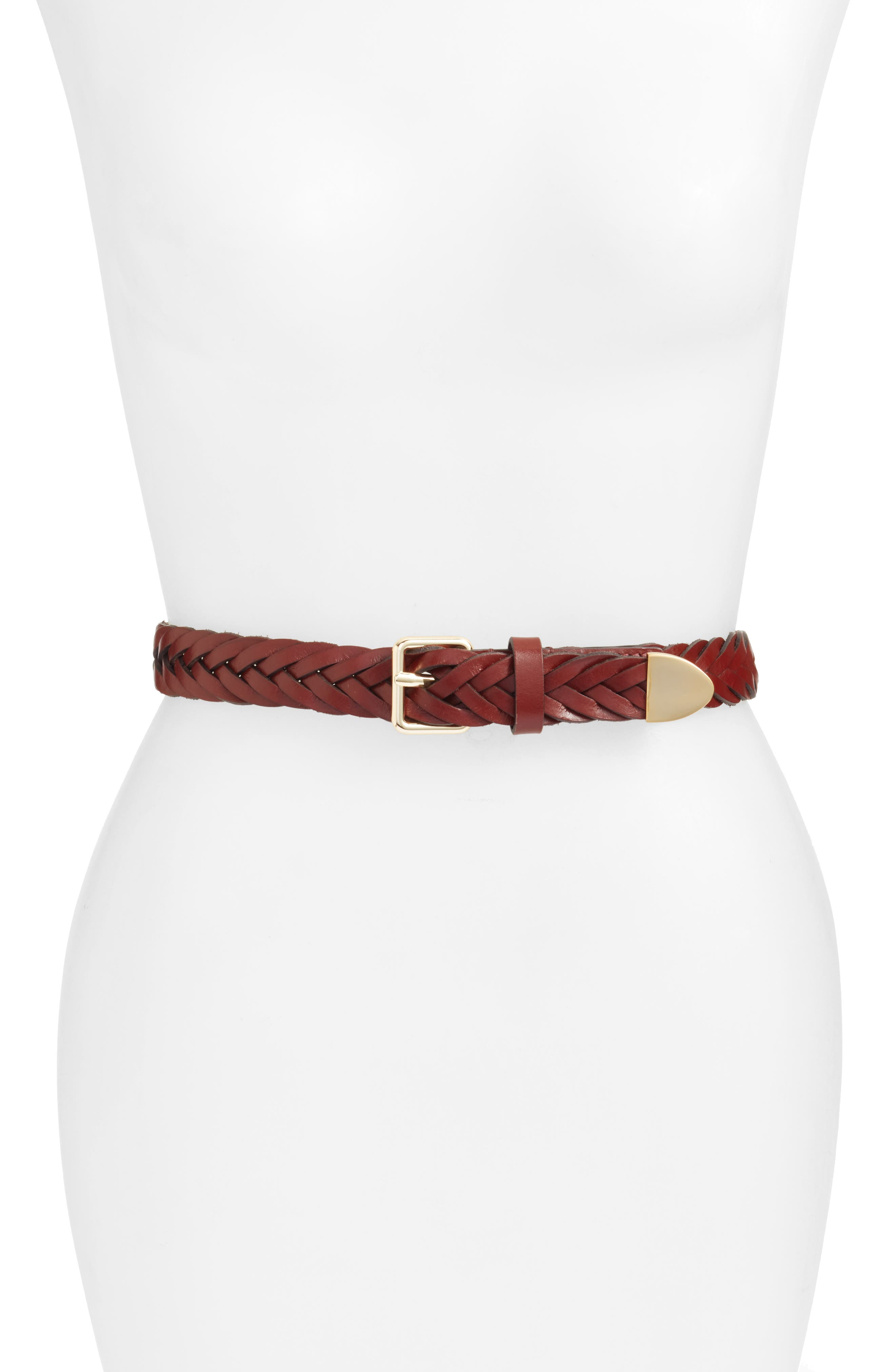 Braided Leather Belt in Luggage / Pol Gold