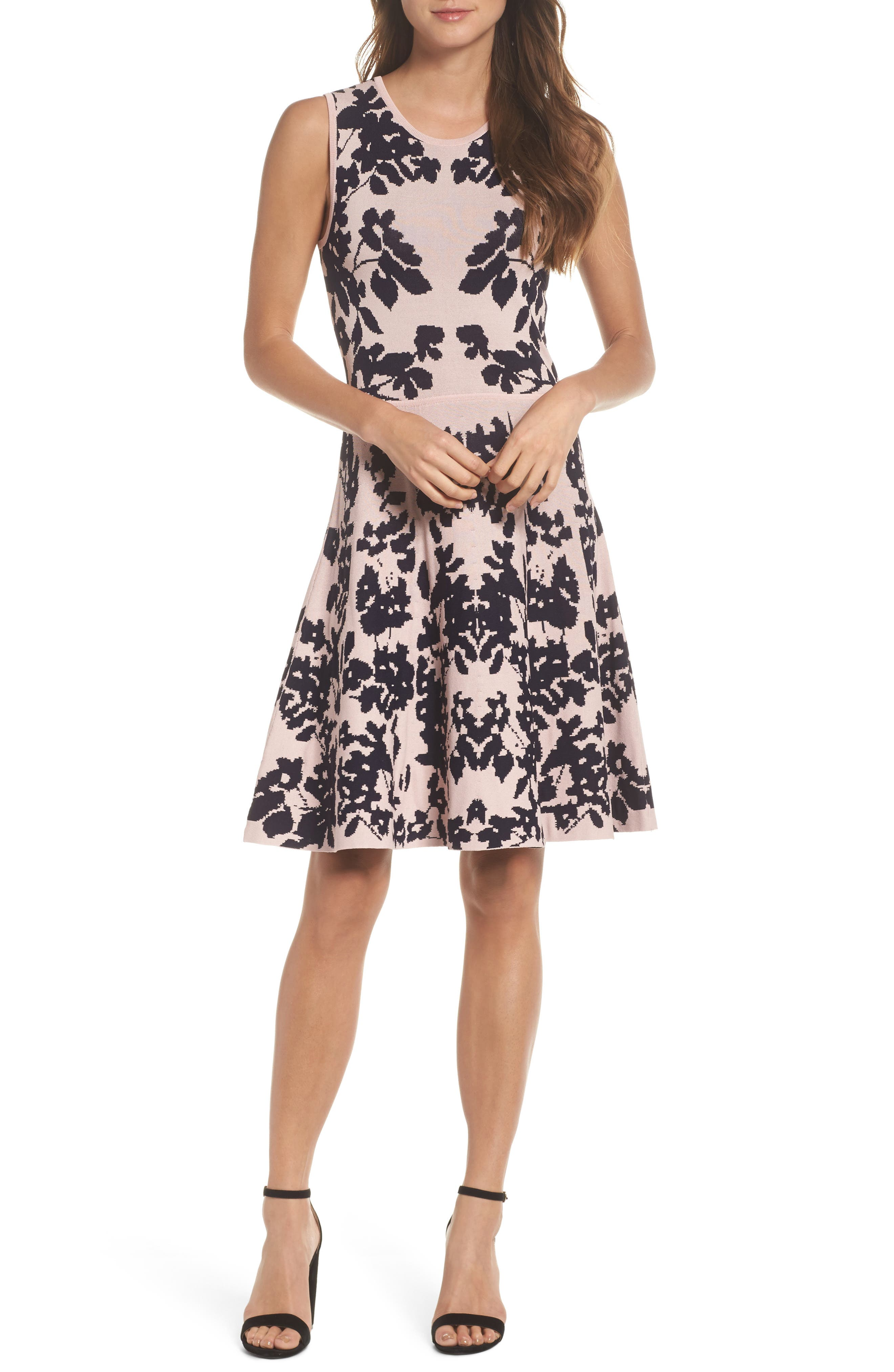 Fit & Flare Sweater Dress,                             Main thumbnail 1, color,                             Pink/ Navy