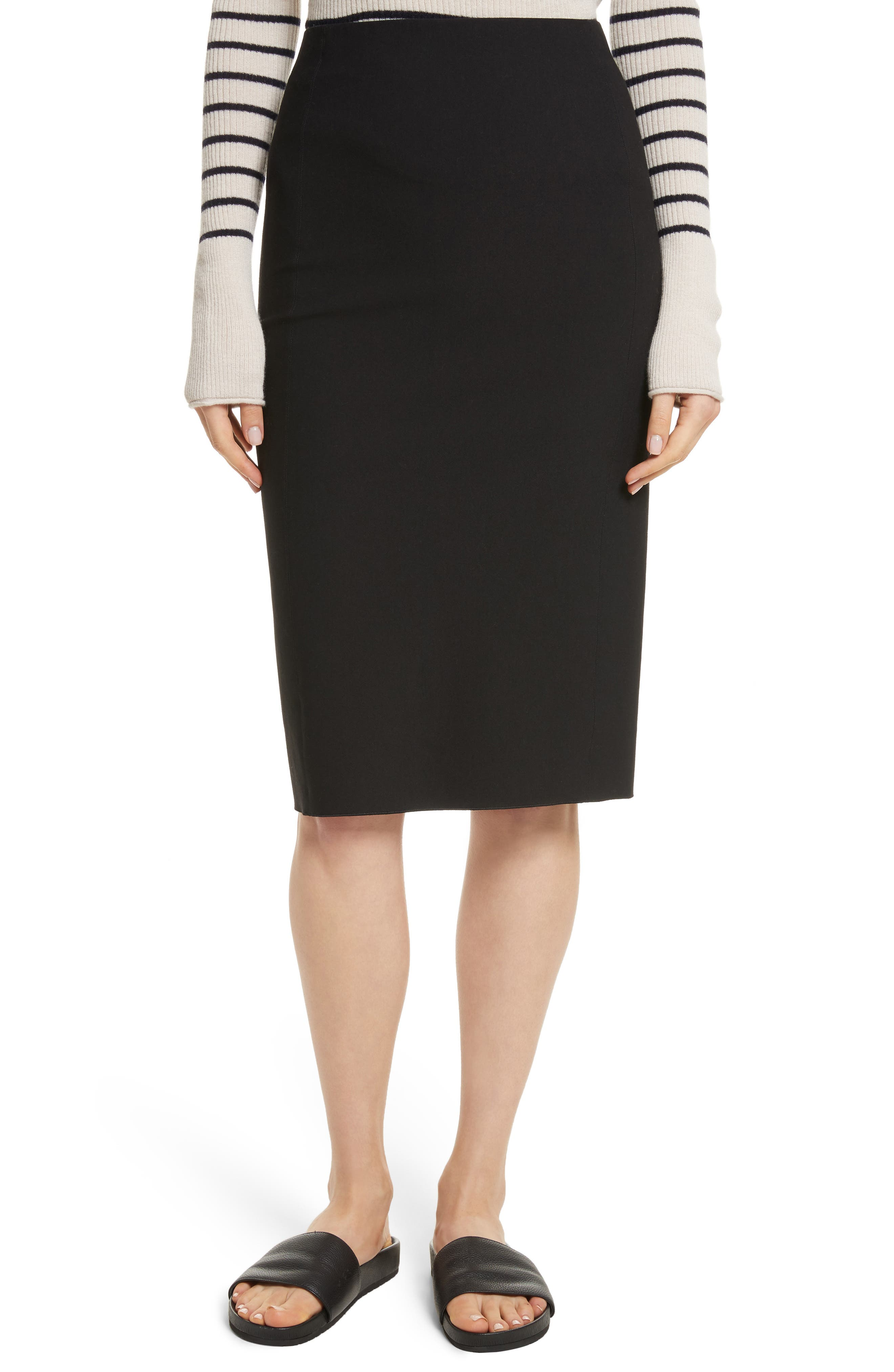 Stretch Ponte Pencil Skirt,                             Main thumbnail 1, color,                             Black