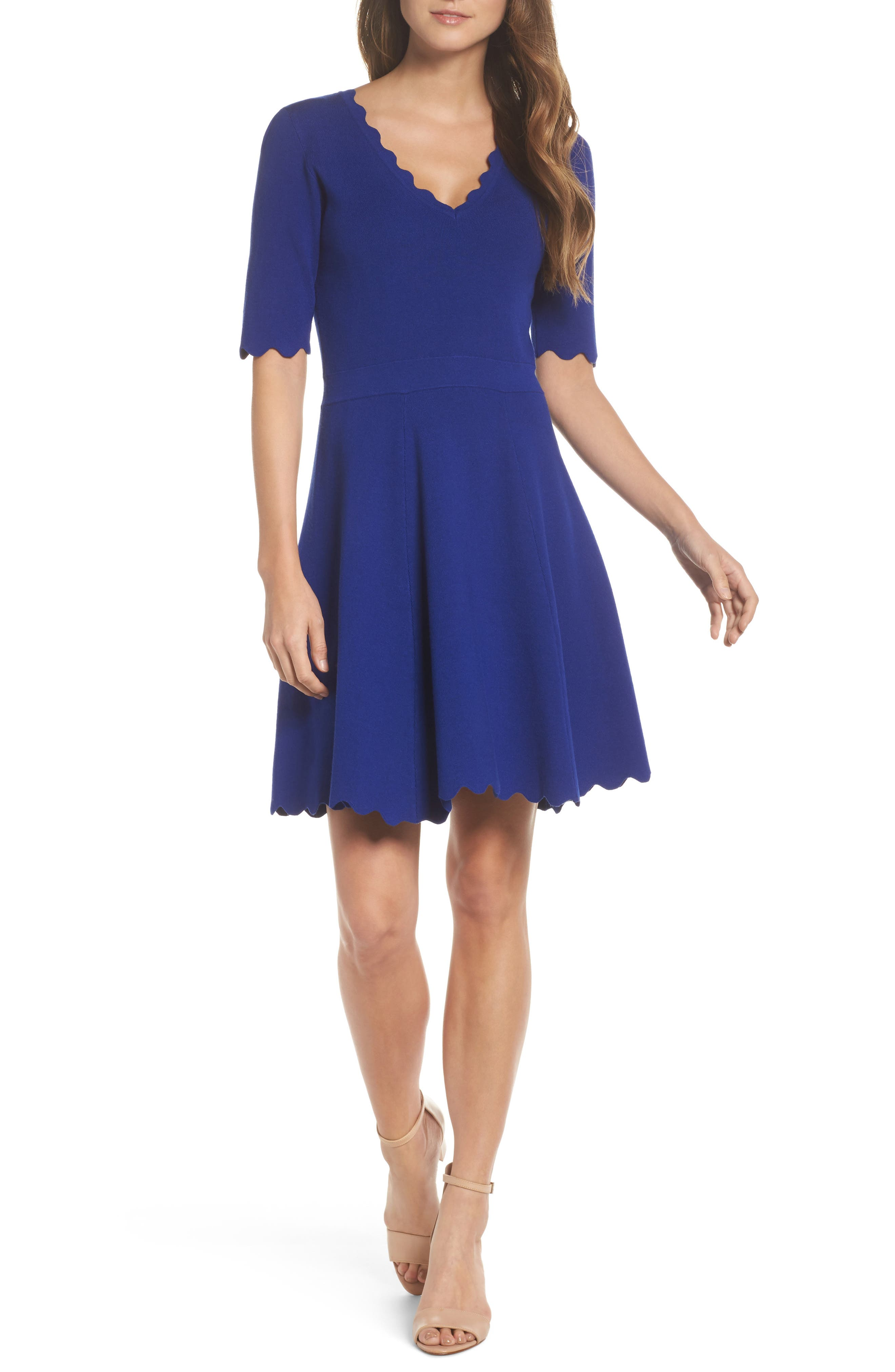 Eliza J Scallop Fit & Flare Dress