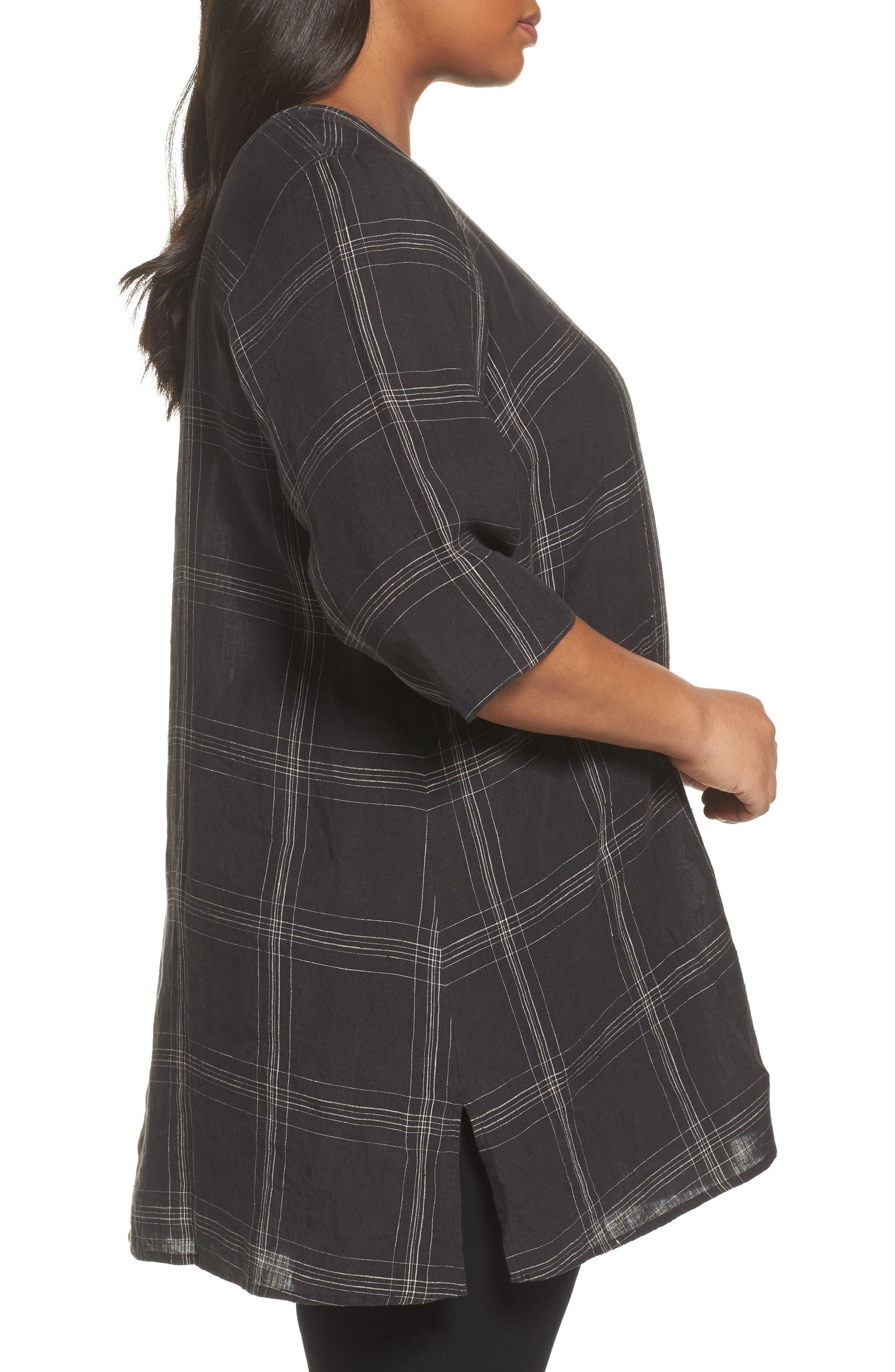 Plaid Organic Linen Tunic,                             Alternate thumbnail 3, color,                             Black