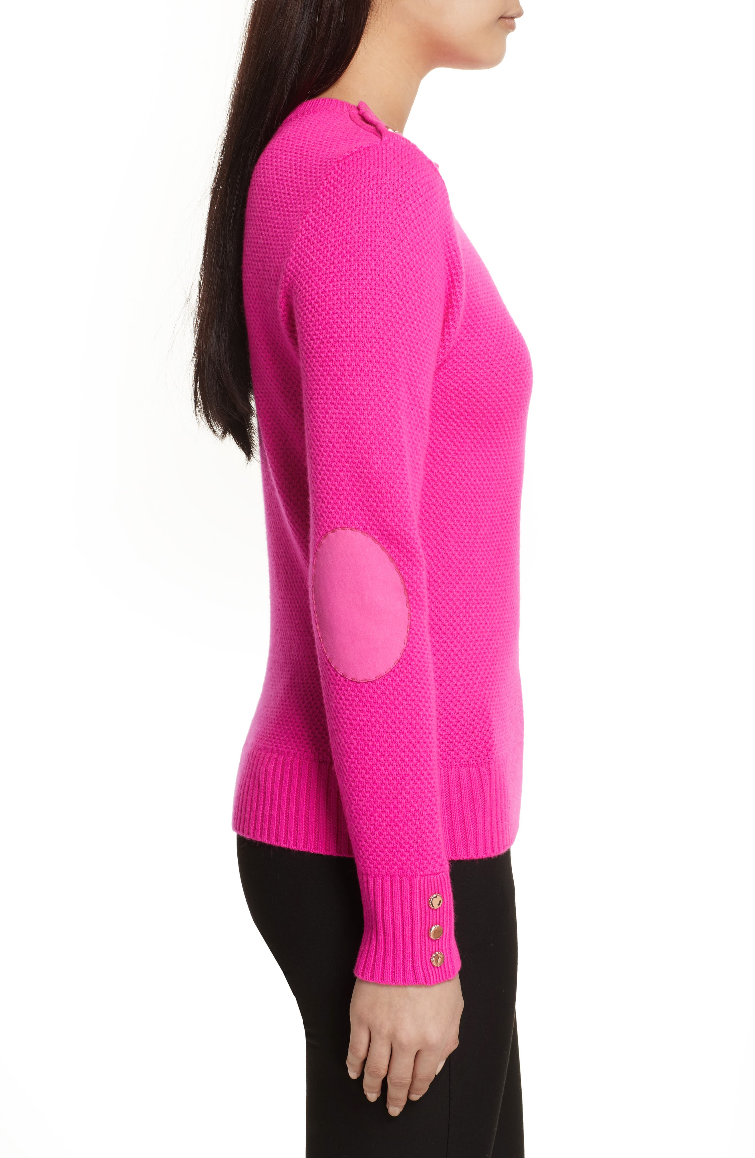 Textured Merino-Wool-Blend Sweater,                             Alternate thumbnail 3, color,                             Bright Pink