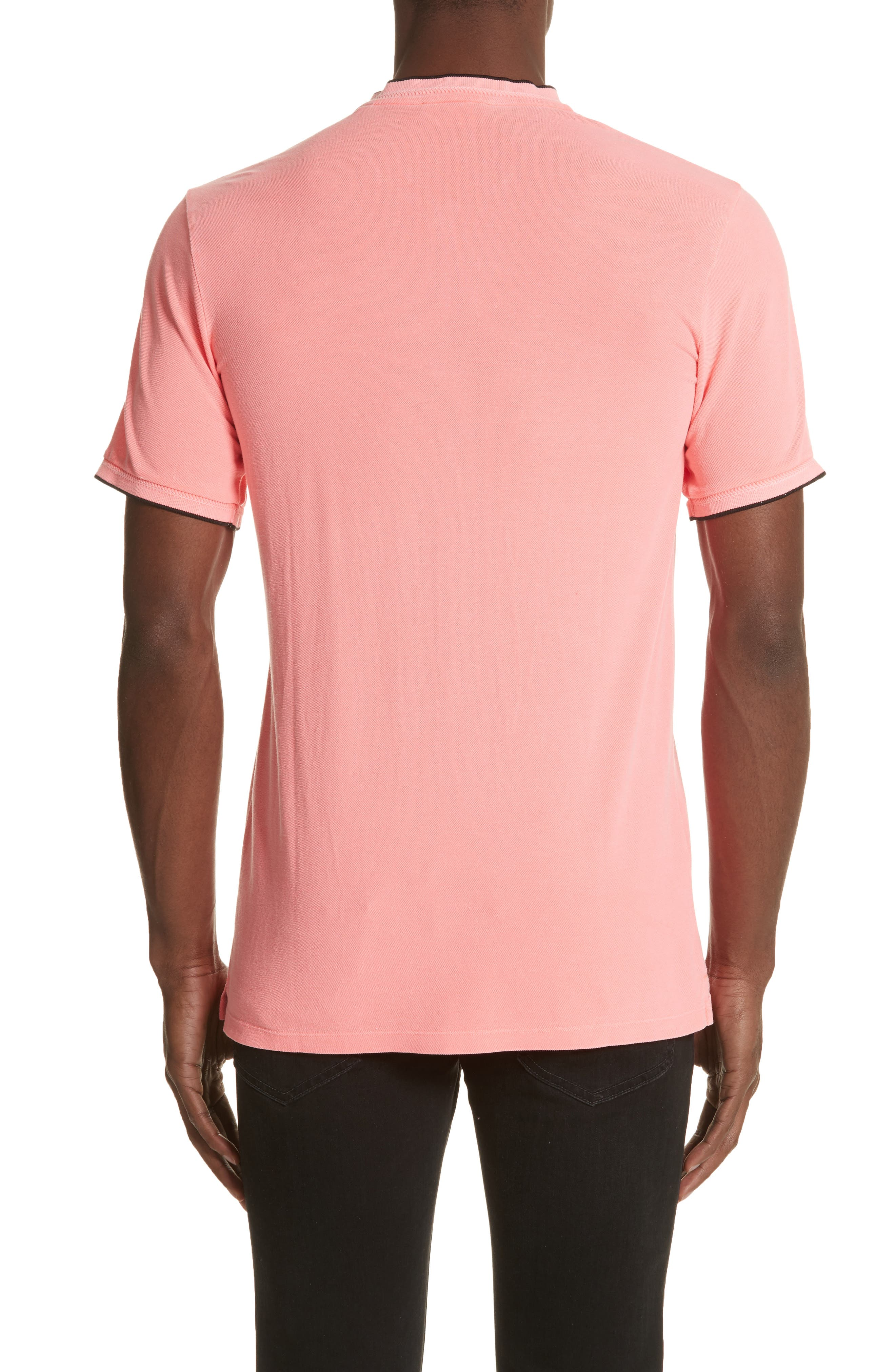 Tipped Polo,                             Alternate thumbnail 2, color,                             Pink 1