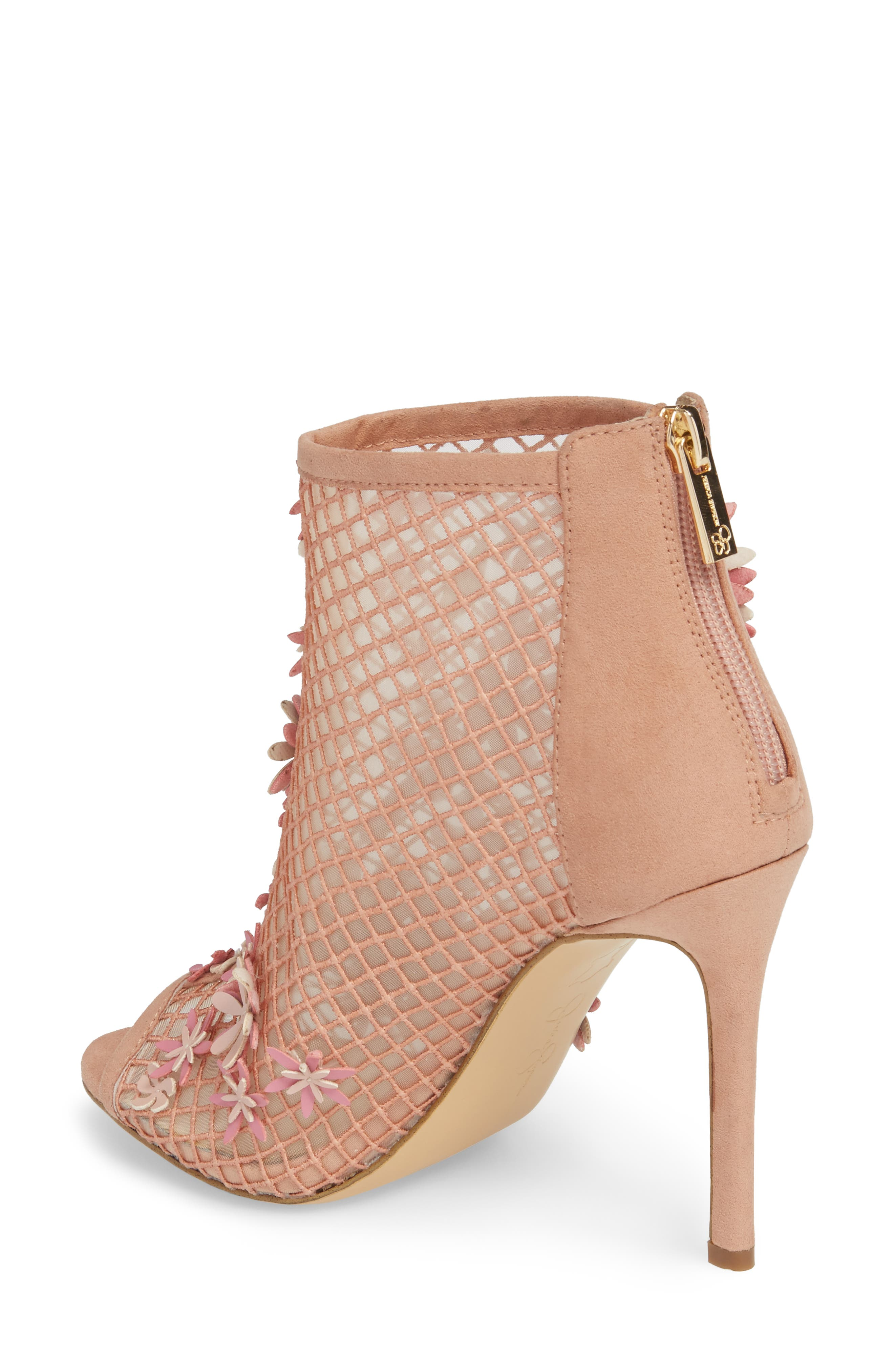 Jayko Flower Mesh Bootie,                             Alternate thumbnail 2, color,                             Nude Blush