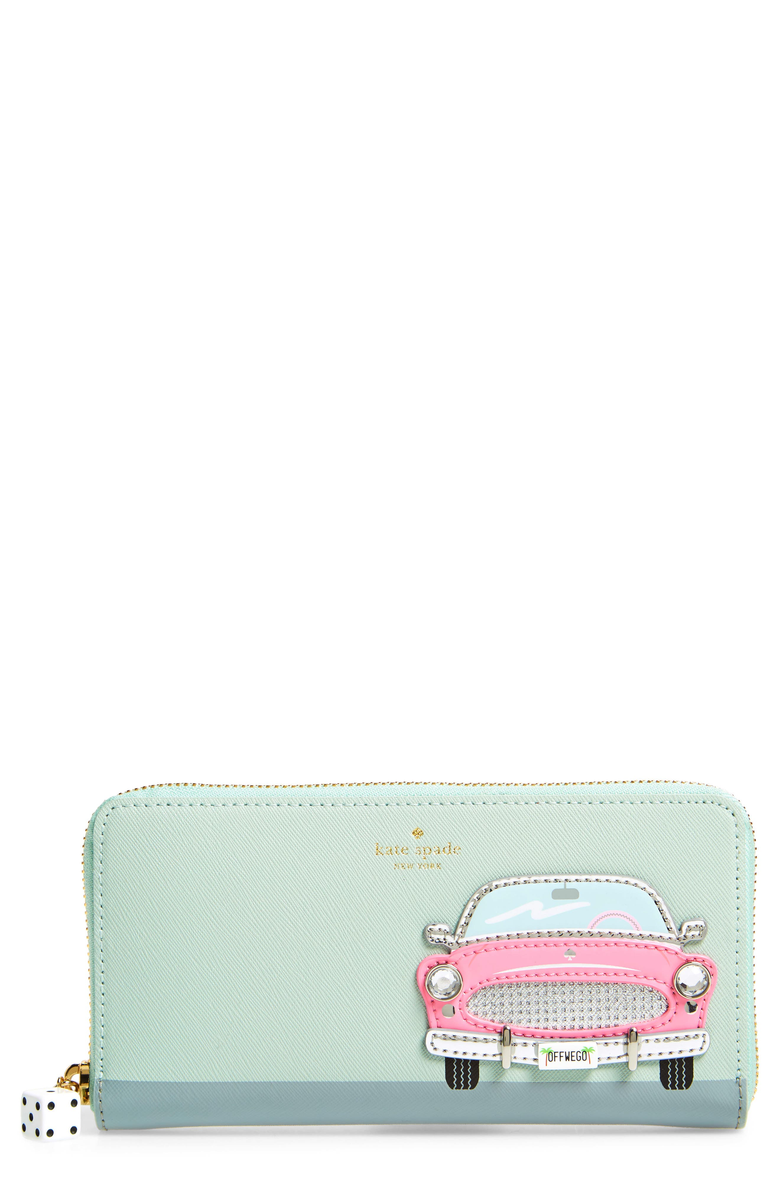 Alternate Image 1 Selected - kate spade new york pink car lacey leather wallet