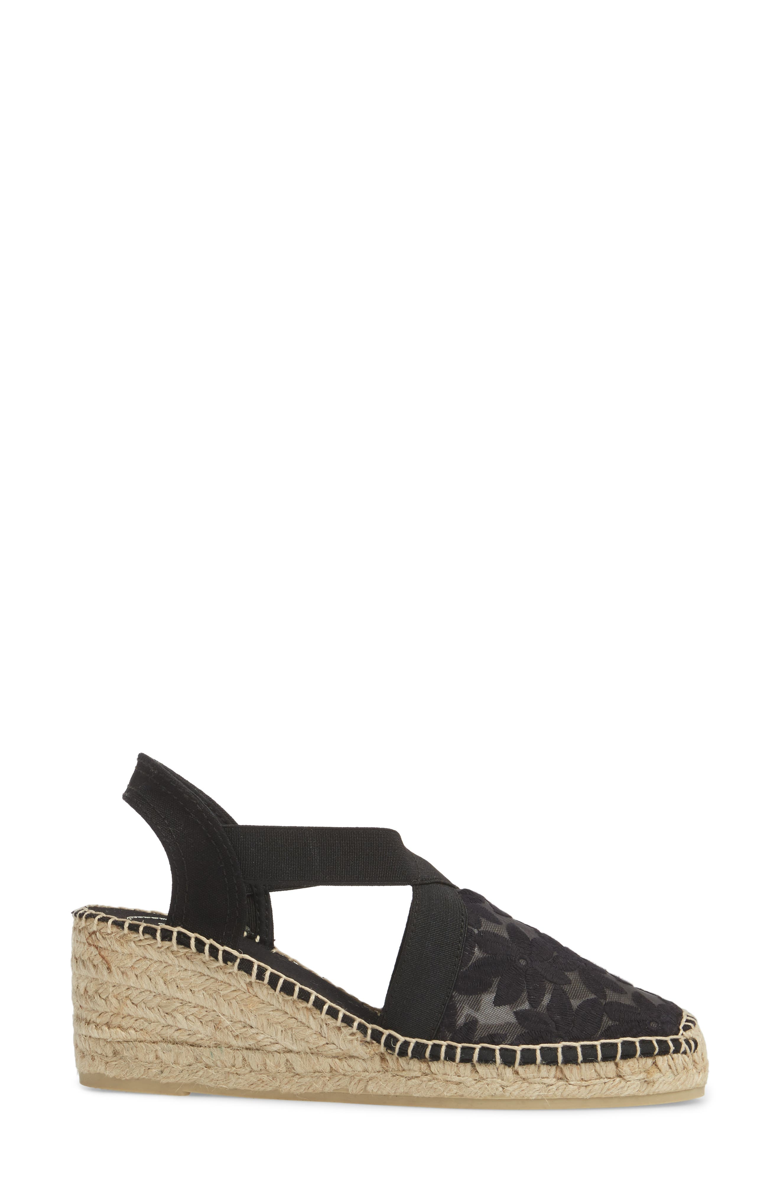 Terra Espadrille Wedge Sandal,                             Alternate thumbnail 3, color,                             Black Fabric