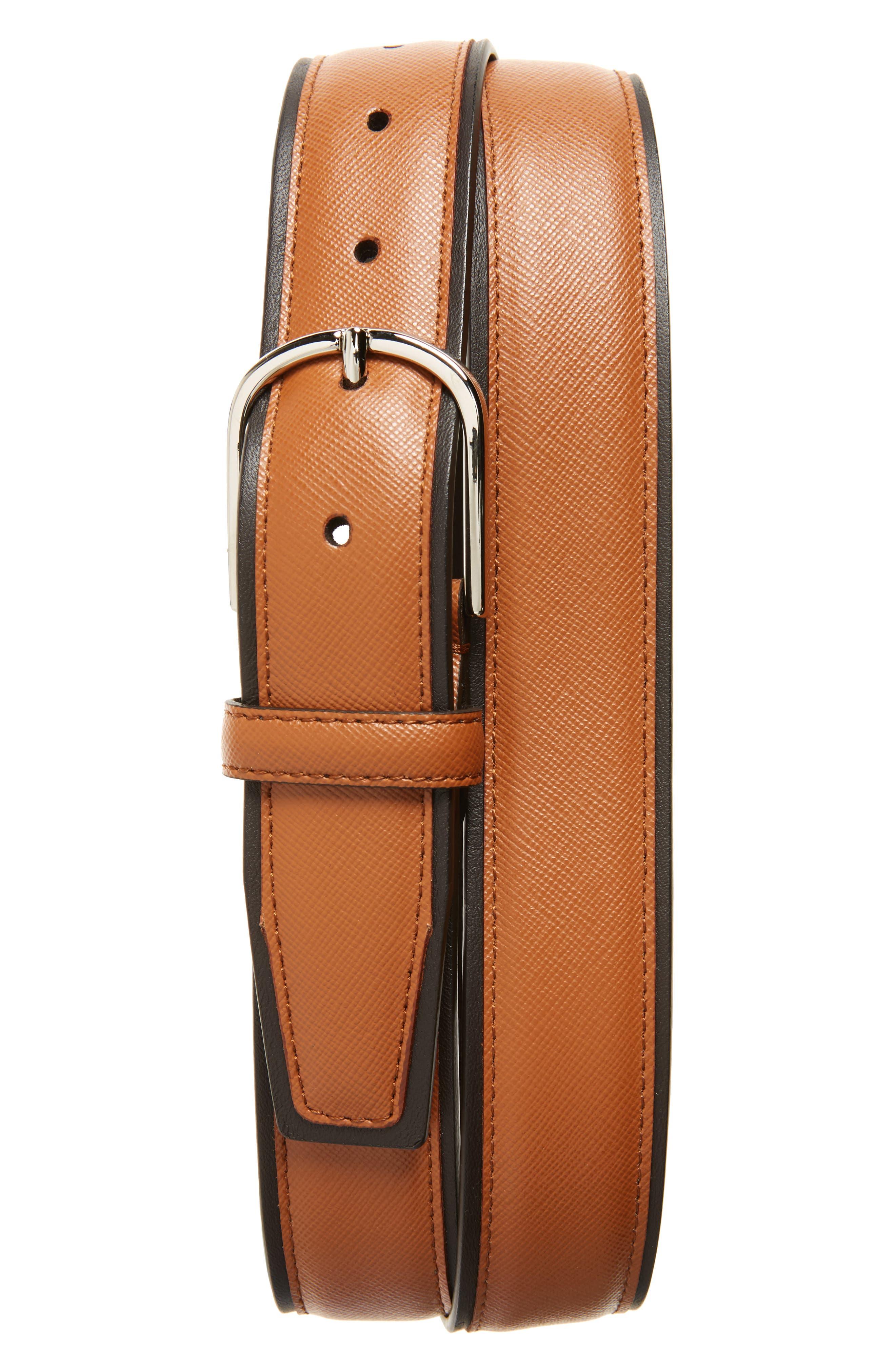 Saffiano Leather Belt,                         Main,                         color, Light Brown