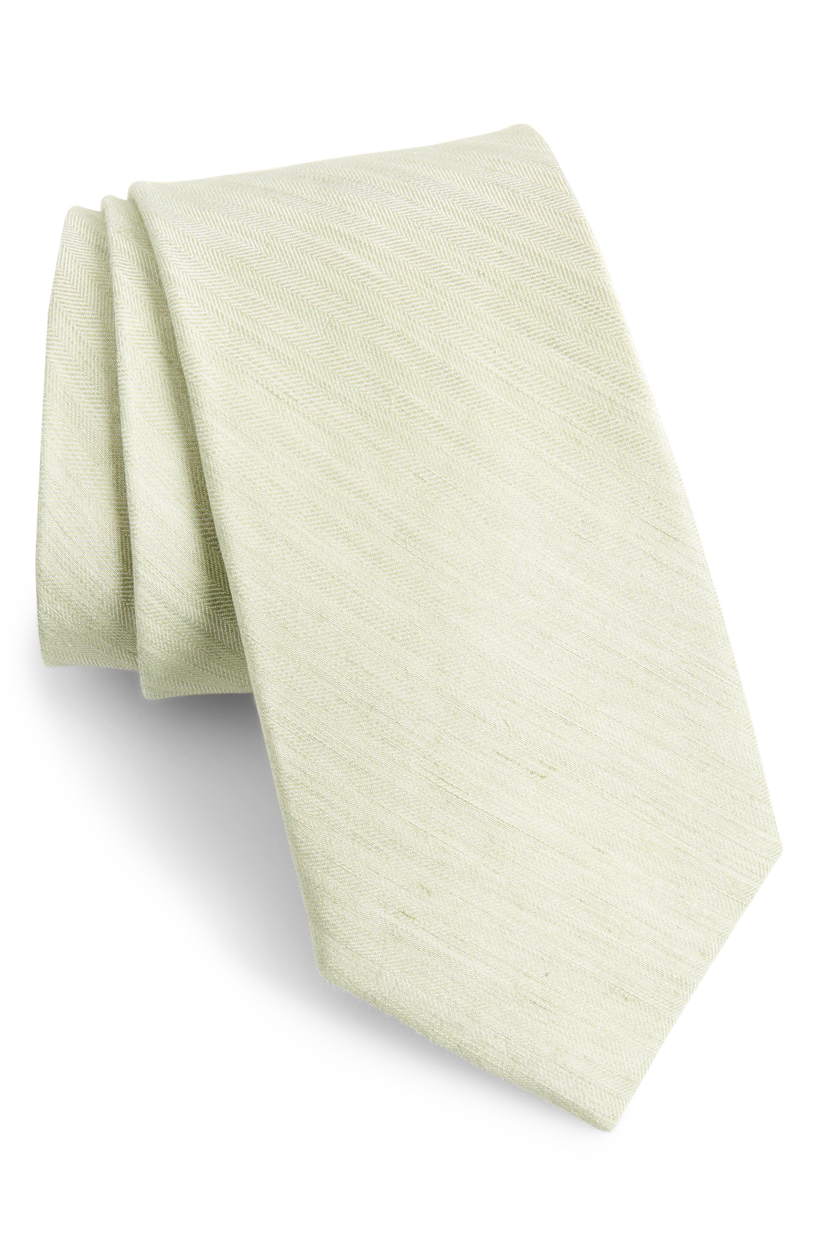 Linen Row Linen & Silk Tie,                         Main,                         color, Sage Green