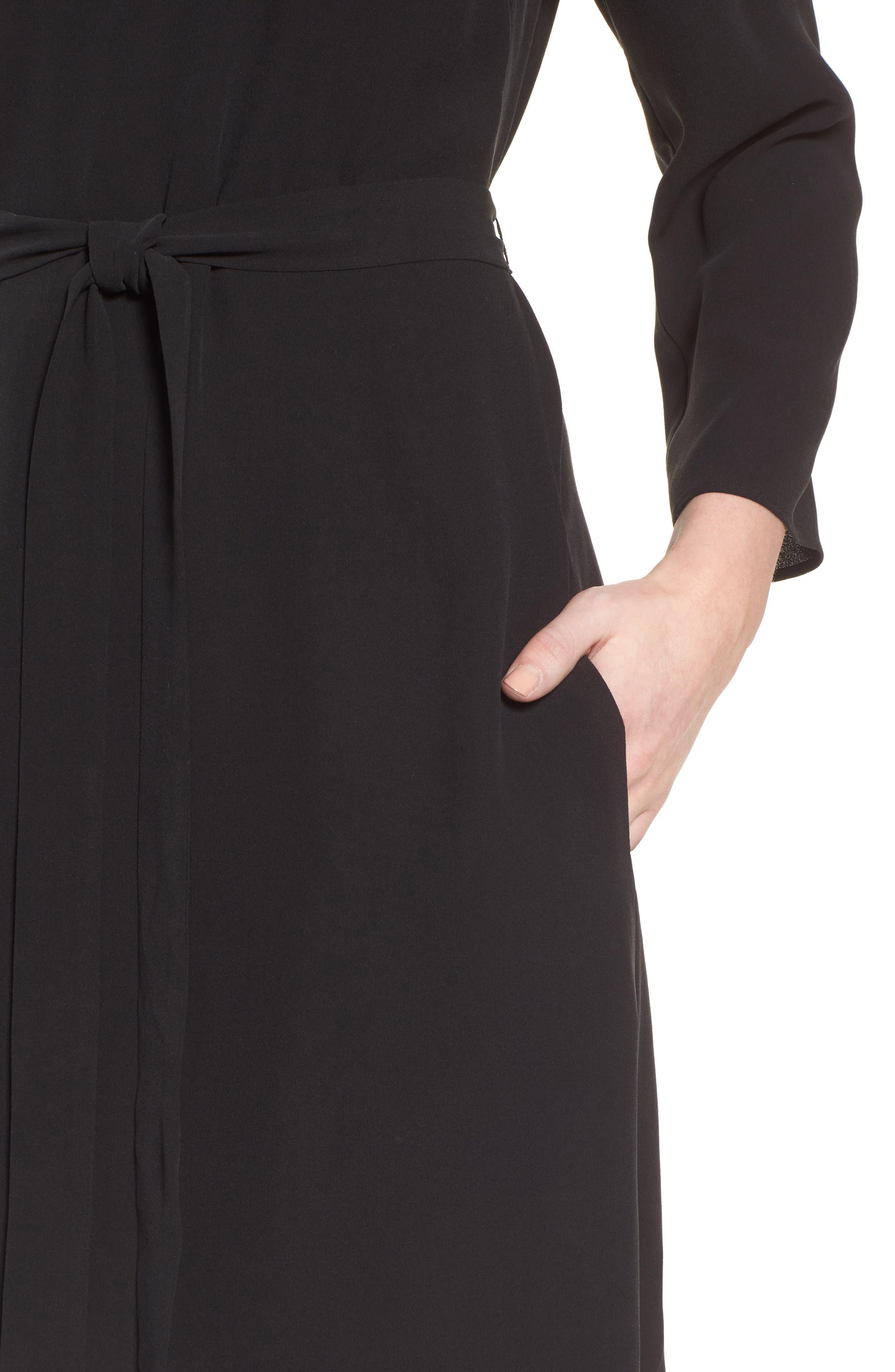Bateau Neck Silk Dress,                             Alternate thumbnail 4, color,                             Black