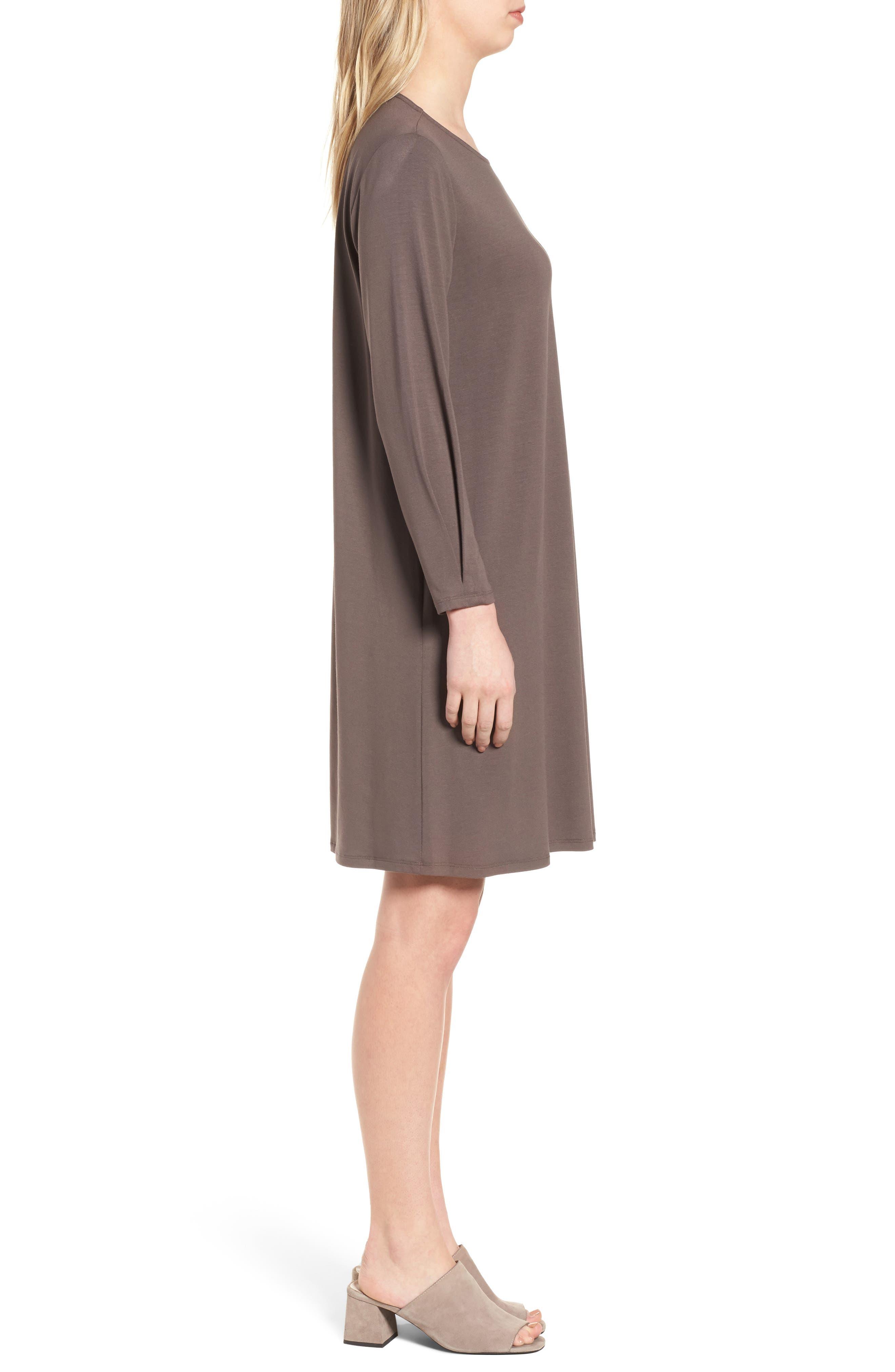 Jersey Shift Dress,                             Alternate thumbnail 3, color,                             Rye