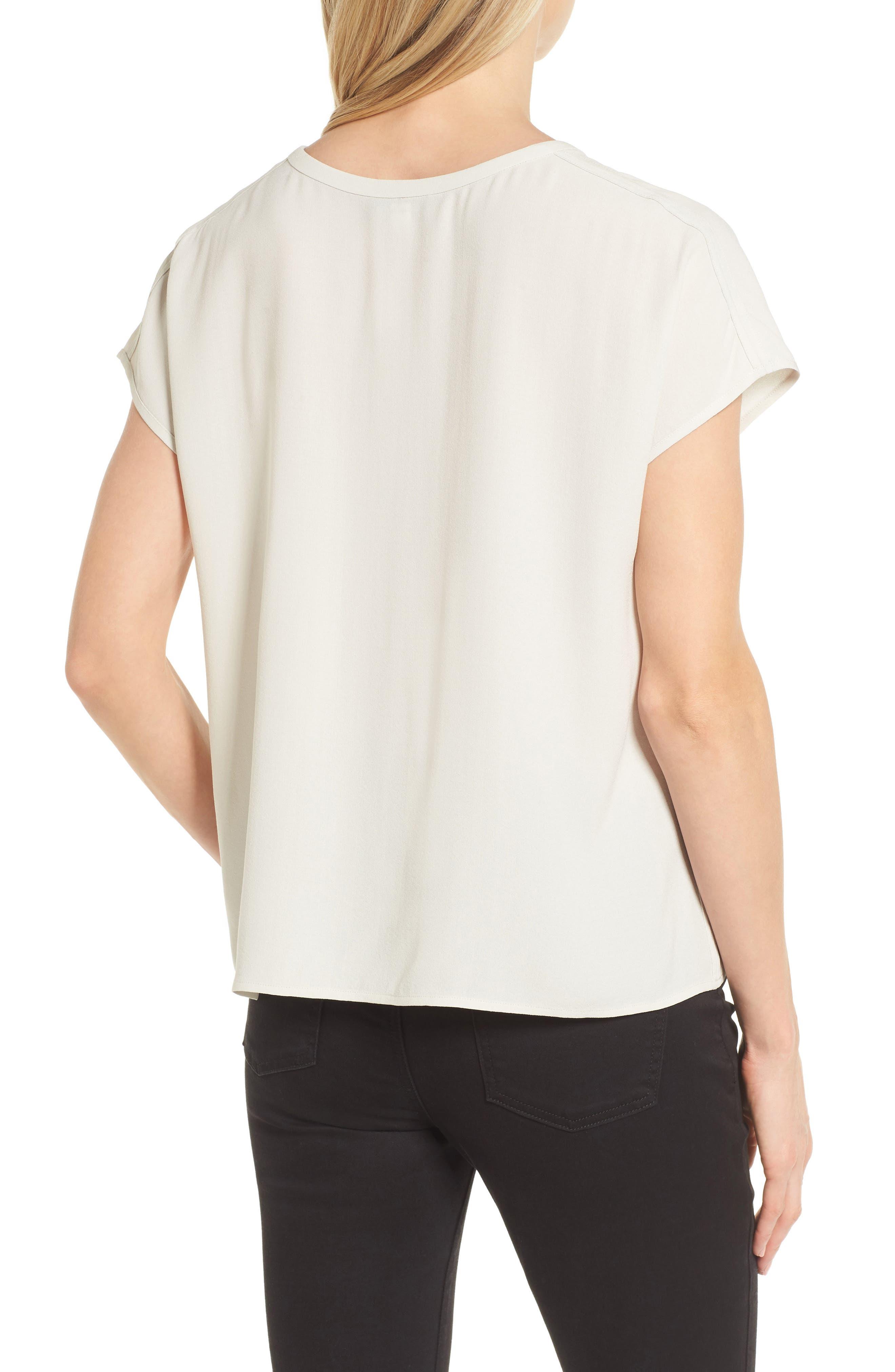 Split Neck Silk Shirt,                             Alternate thumbnail 2, color,                             Bone