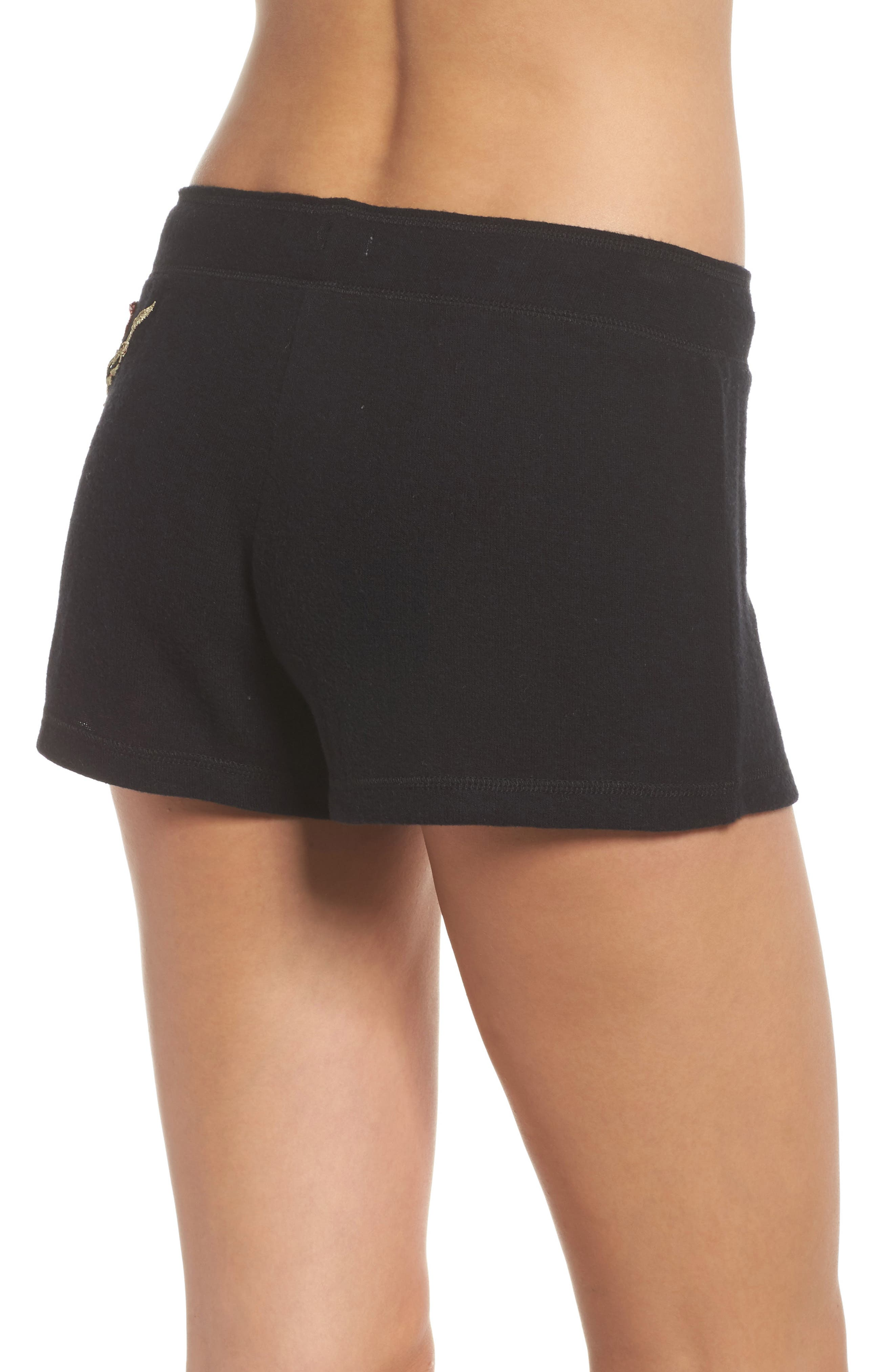 Embroidered Lounge Shorts,                             Alternate thumbnail 2, color,                             Black
