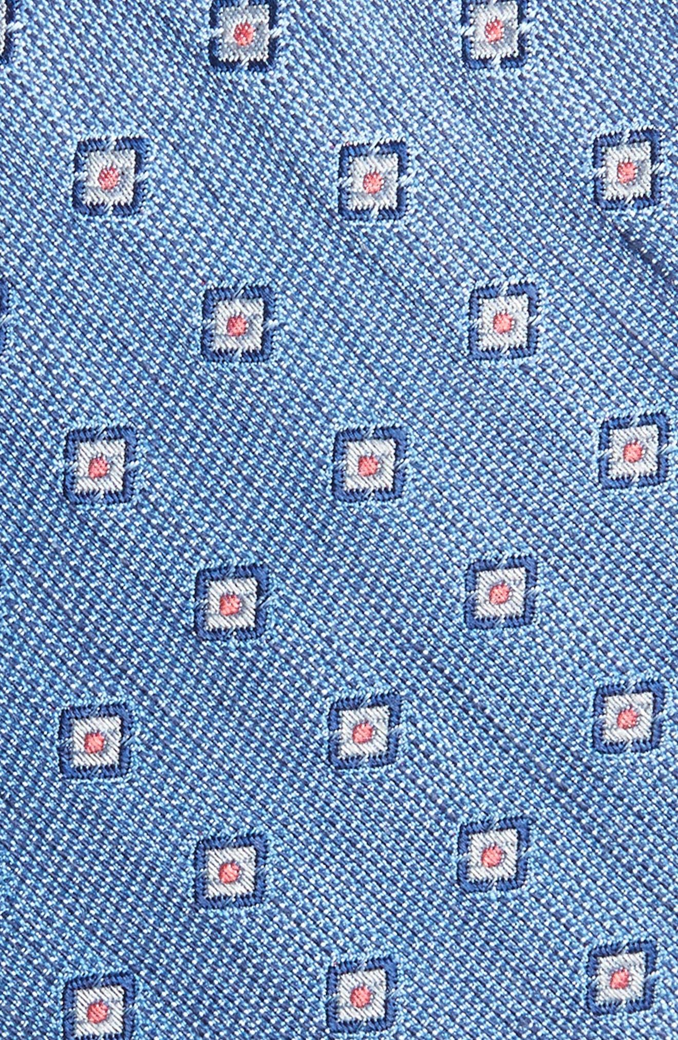 Medallion Scene Silk & Linen Skinny Tie,                             Alternate thumbnail 2, color,                             Light Blue