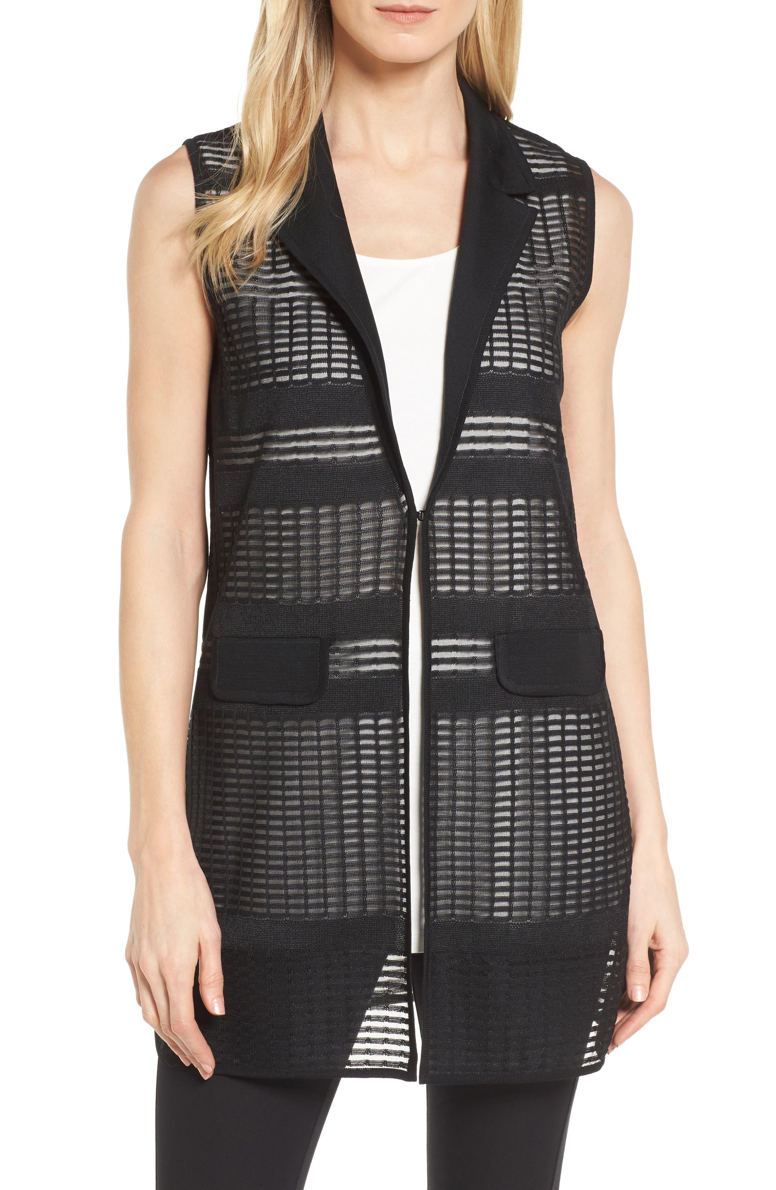 Mng Wang Long Geo Jacquard Vest,                         Main,                         color, Black