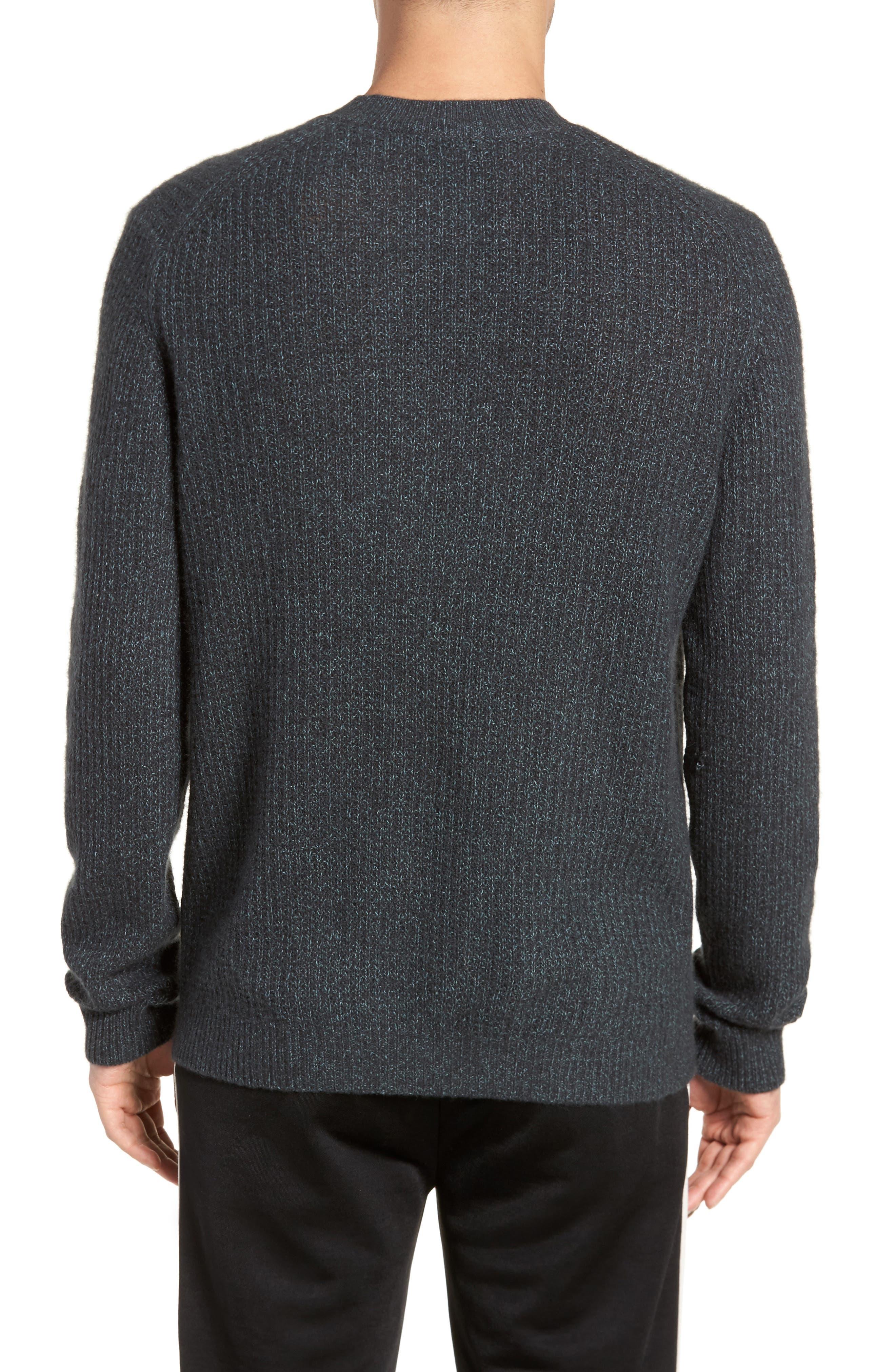 Thermal Knit Crewneck Cashmere Sweater,                             Alternate thumbnail 2, color,                             Beetle/ Mint
