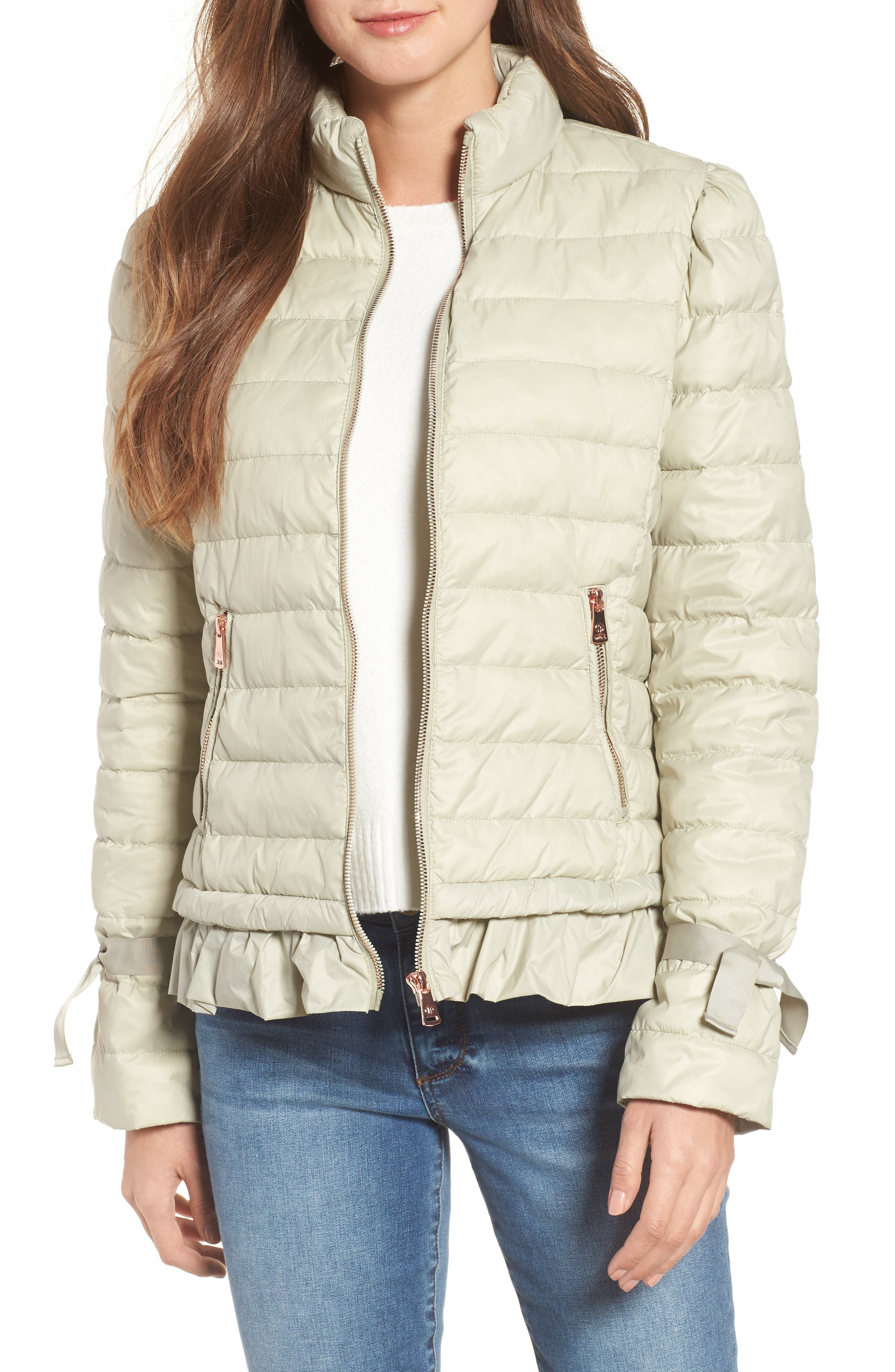 Ruffle Hem PrimaLoft<sup>®</sup> Puffer Jacket,                         Main,                         color, Pearl Grey