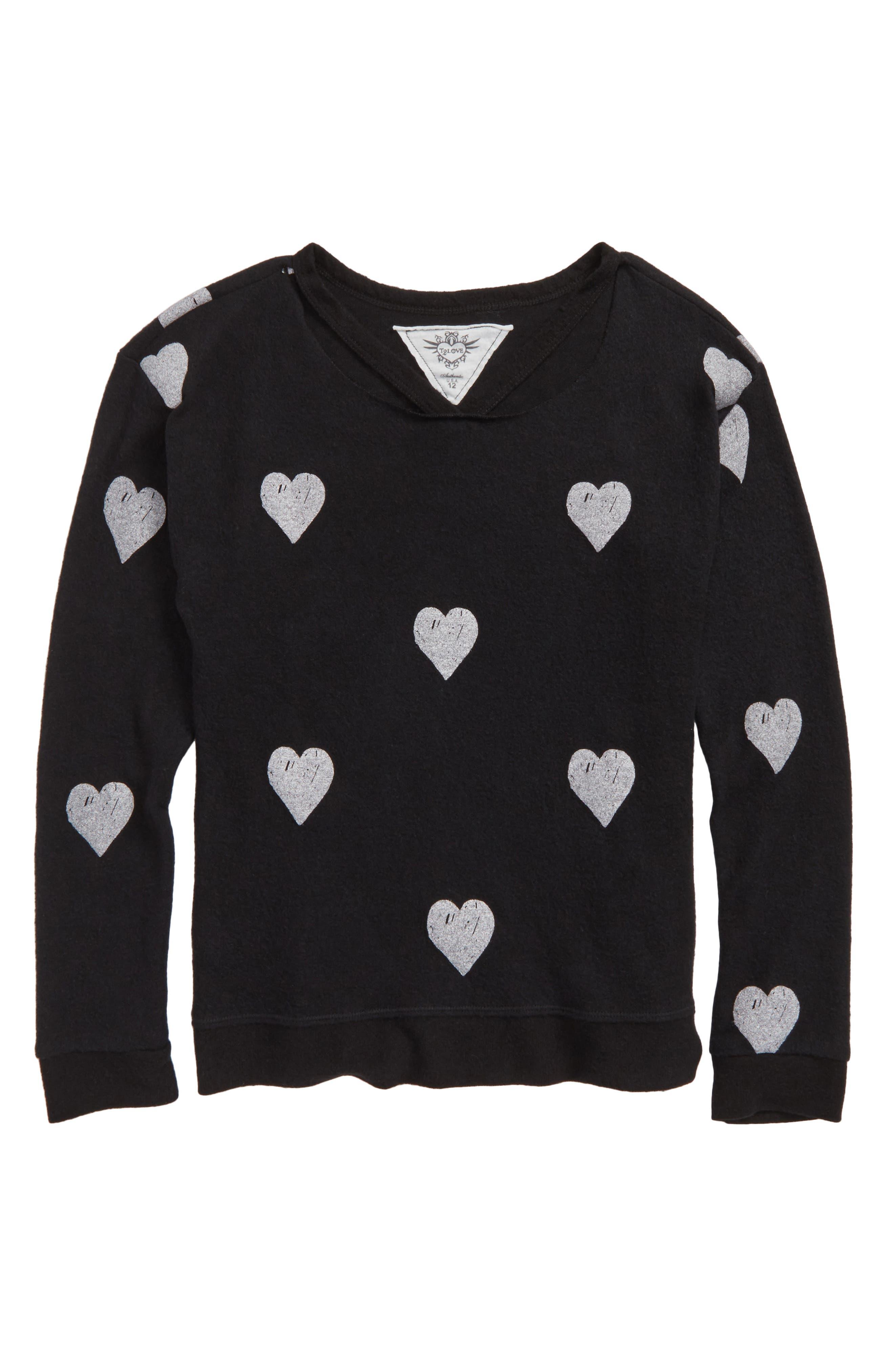 Heart Print Sweatshirt,                         Main,                         color, Black