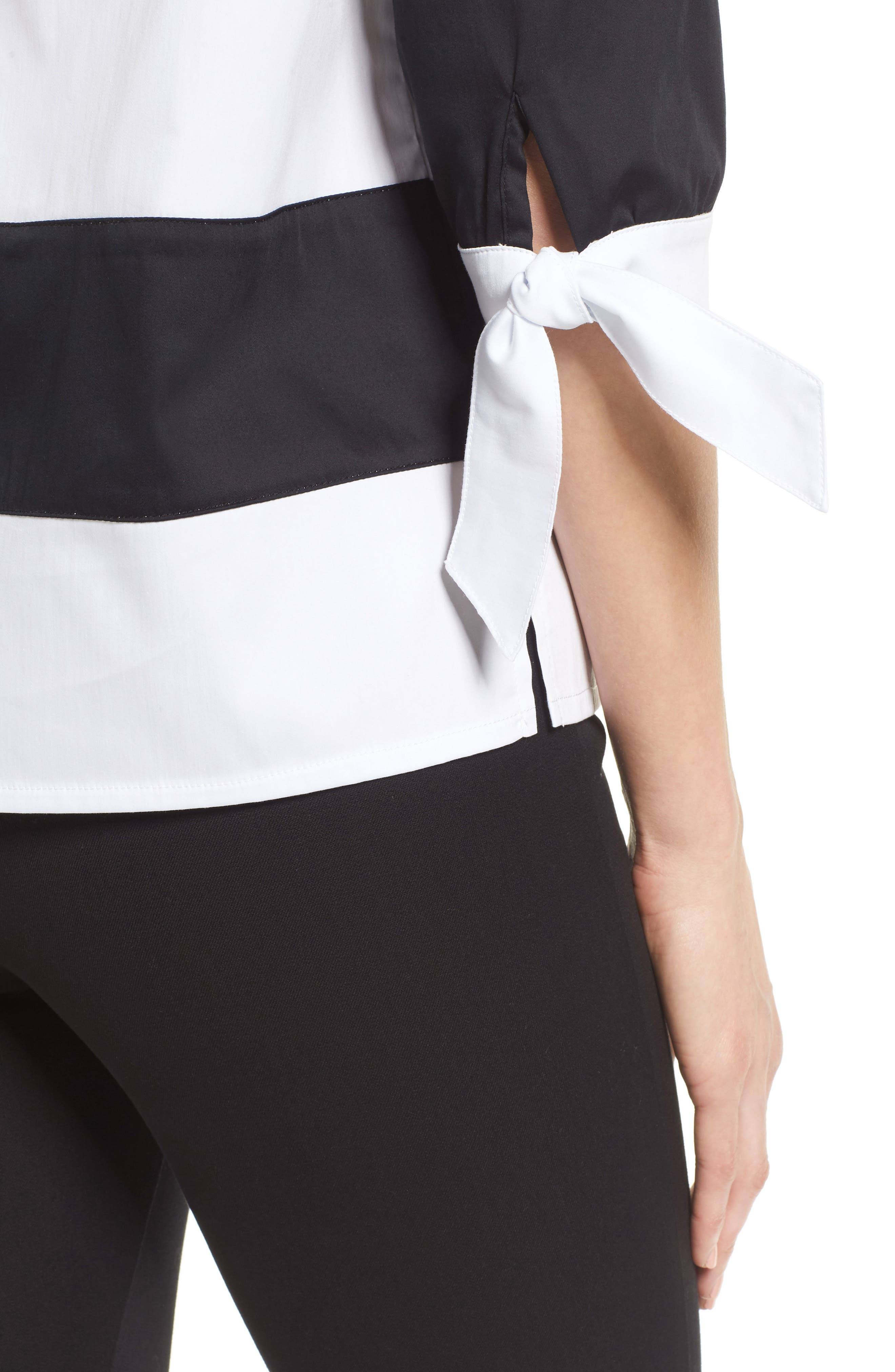 Off the Shoulder Stripe Top,                             Alternate thumbnail 4, color,                             White/ Black