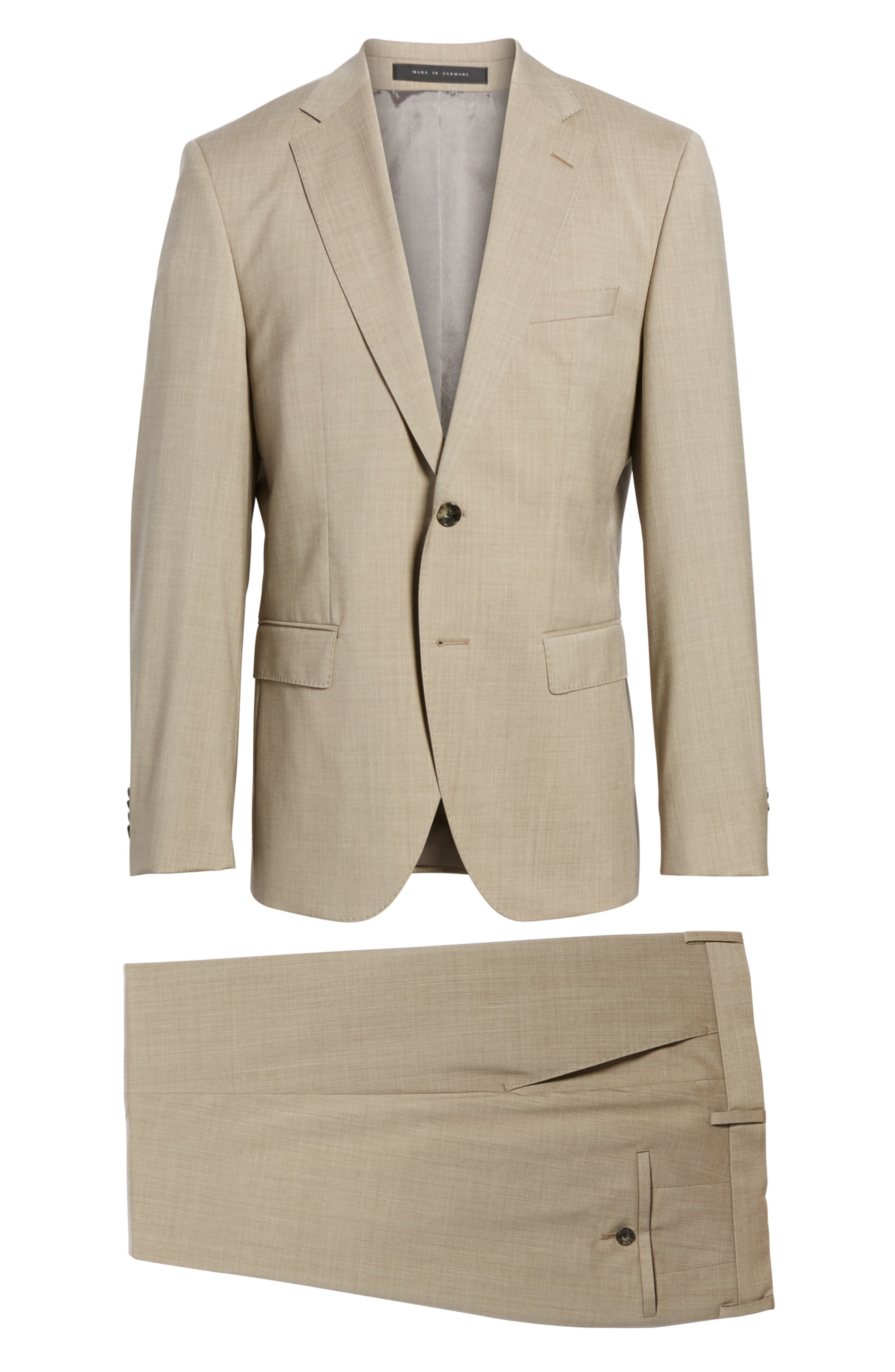 Johnstons/Lenon Classic Fit Solid Wool Suit,                             Alternate thumbnail 8, color,                             Medium Beige