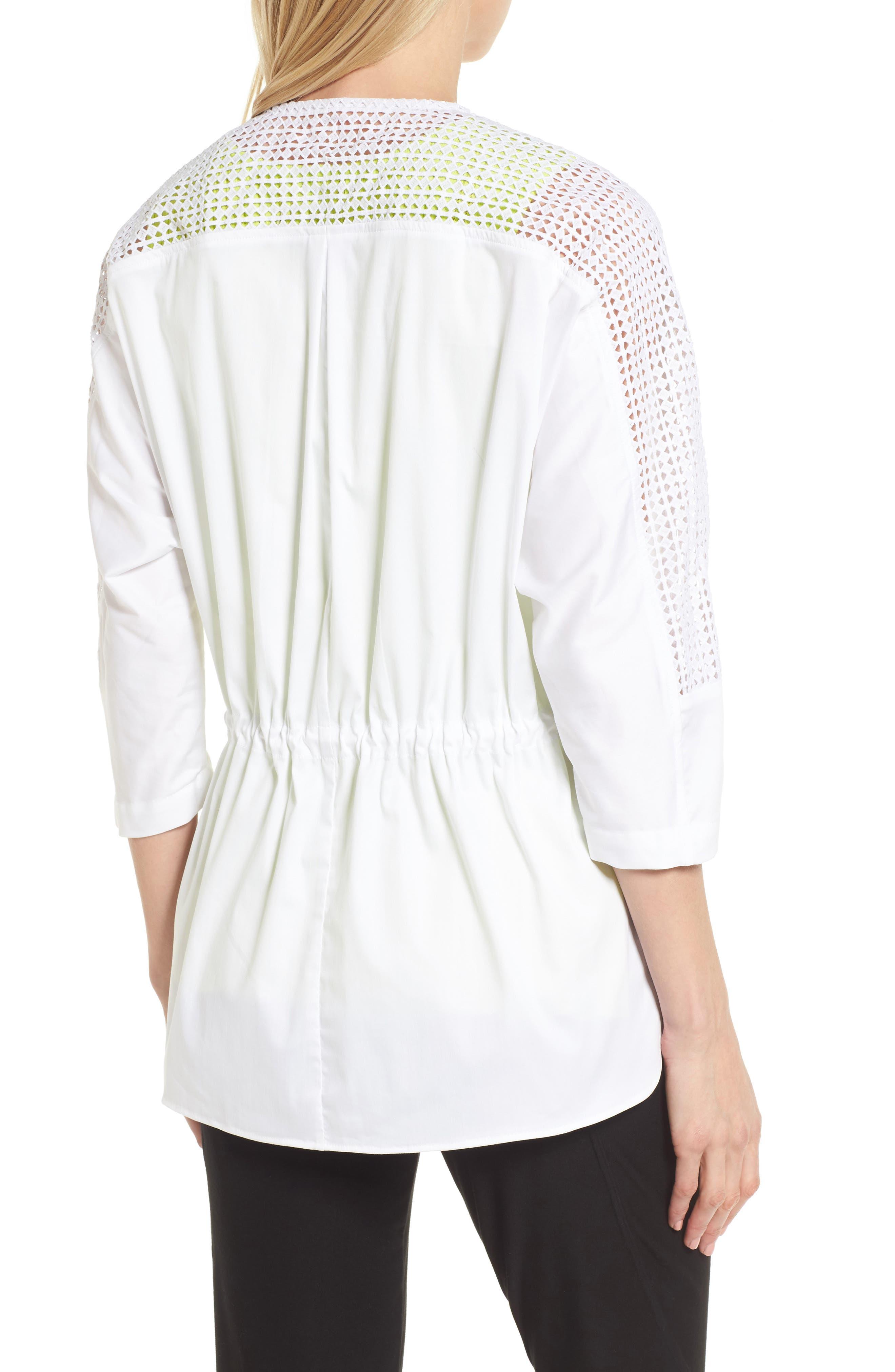 Eyelet Sleeve Front Zip Jacket,                             Alternate thumbnail 2, color,                             White/ Black