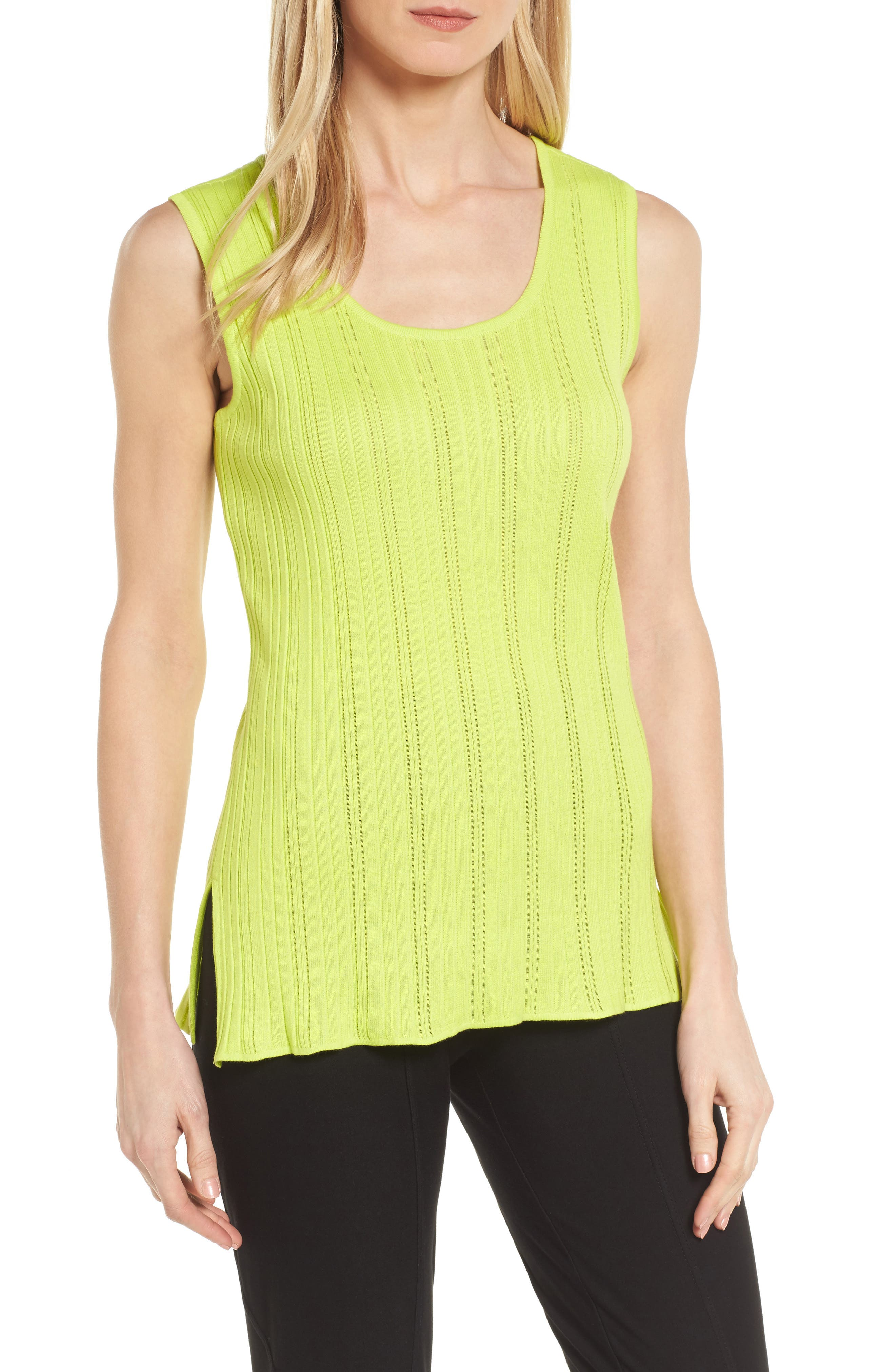 Scoop Neck Ribbed Knit Tank,                         Main,                         color, Pear