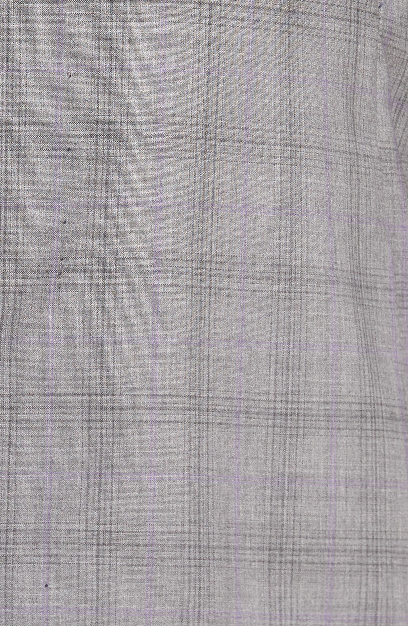Jay Trim Fit Plaid Wool Suit,                             Alternate thumbnail 5, color,                             Light Grey