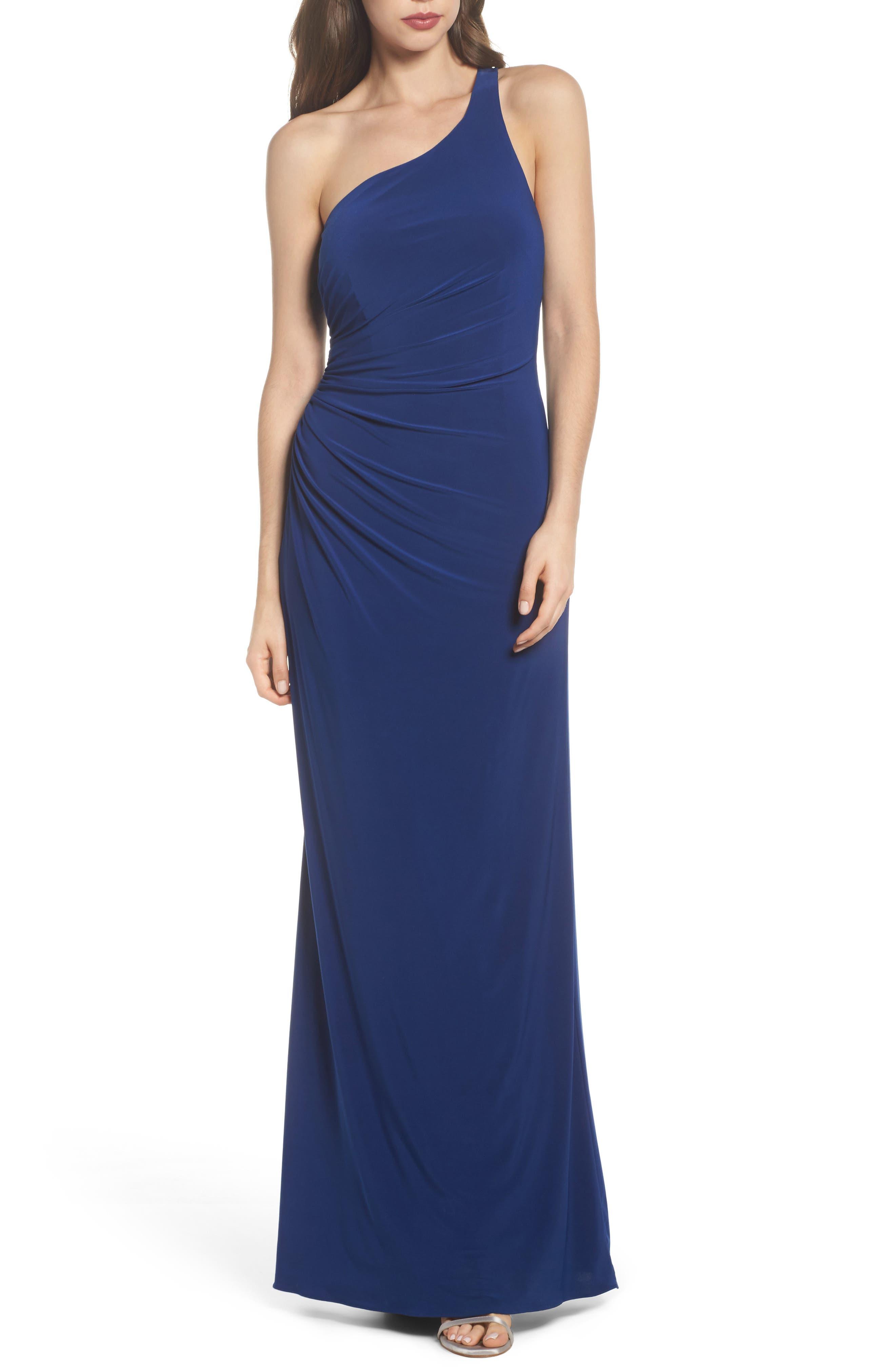 One-Shoulder Ruched Jersey Gown,                         Main,                         color, Blue Violet