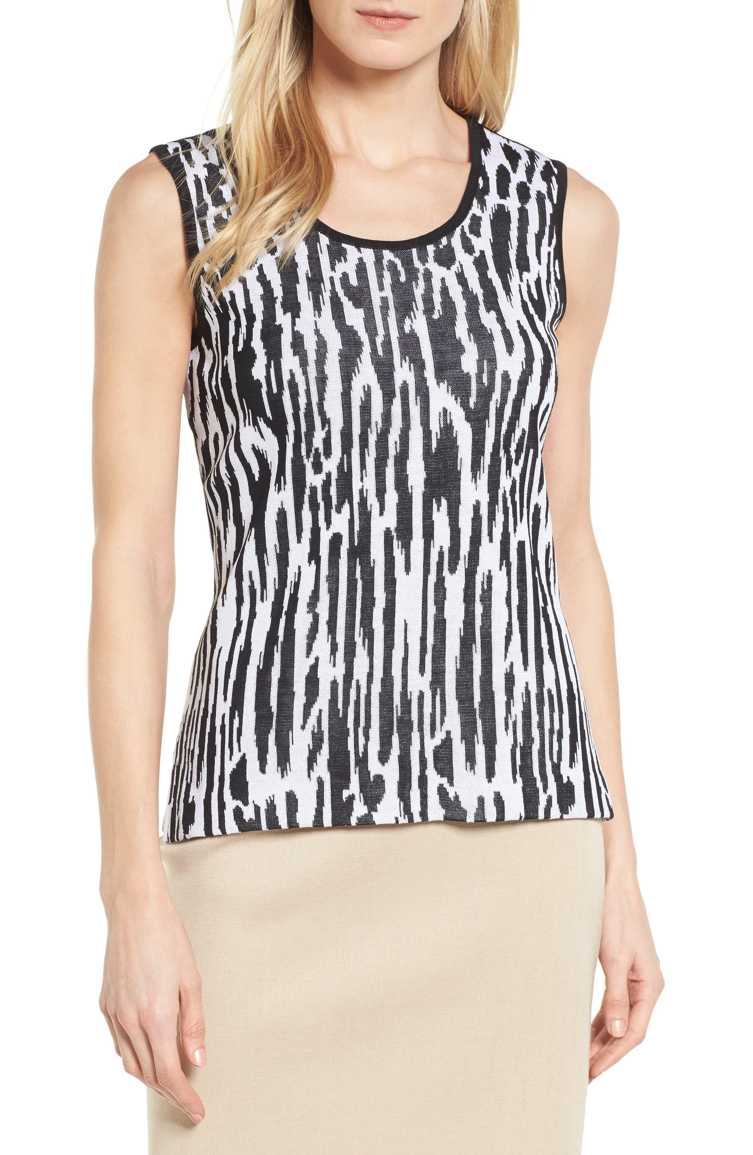 Animal Pattern Knit Tank,                             Main thumbnail 1, color,                             Black/ White