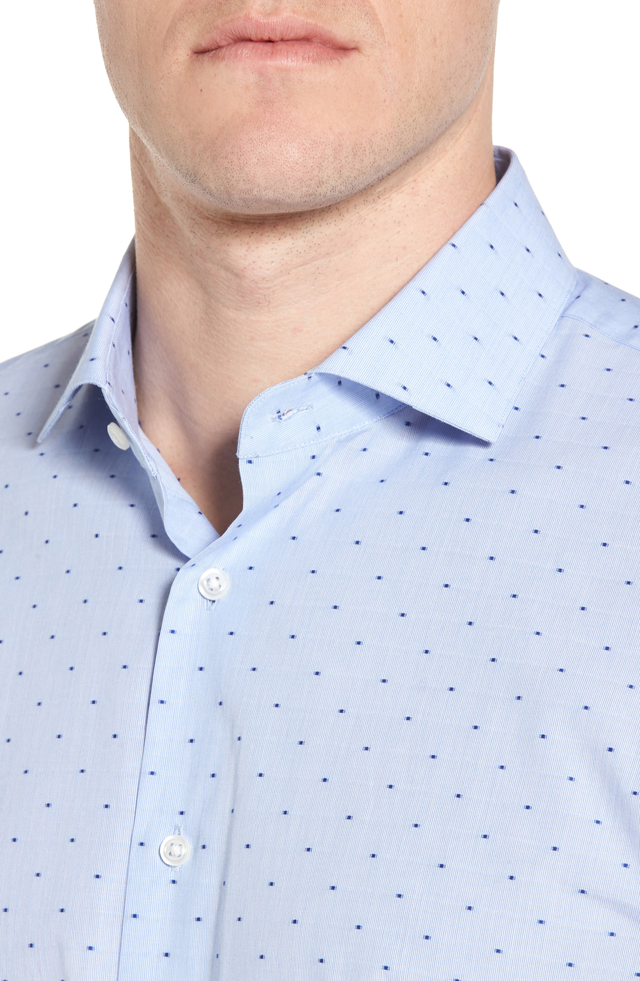 Trim Fit Dot Dress Shirt,                             Alternate thumbnail 2, color,                             Blue Hydrangea
