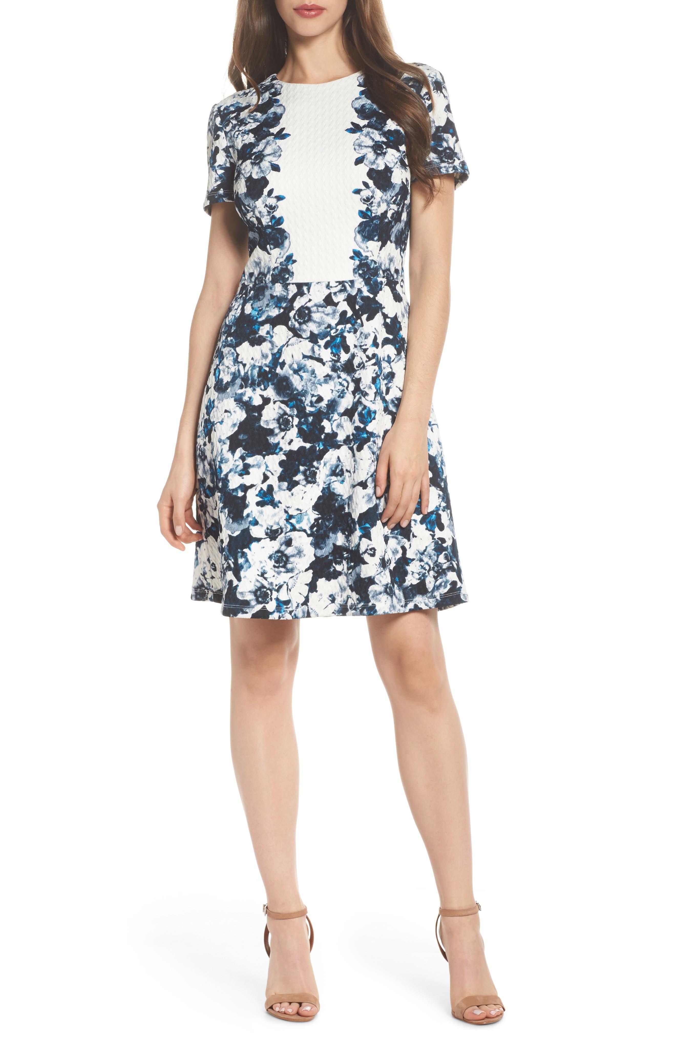 Harlequin Texture Print Fit & Flare Dress,                             Main thumbnail 1, color,                             Soft White/ Blue