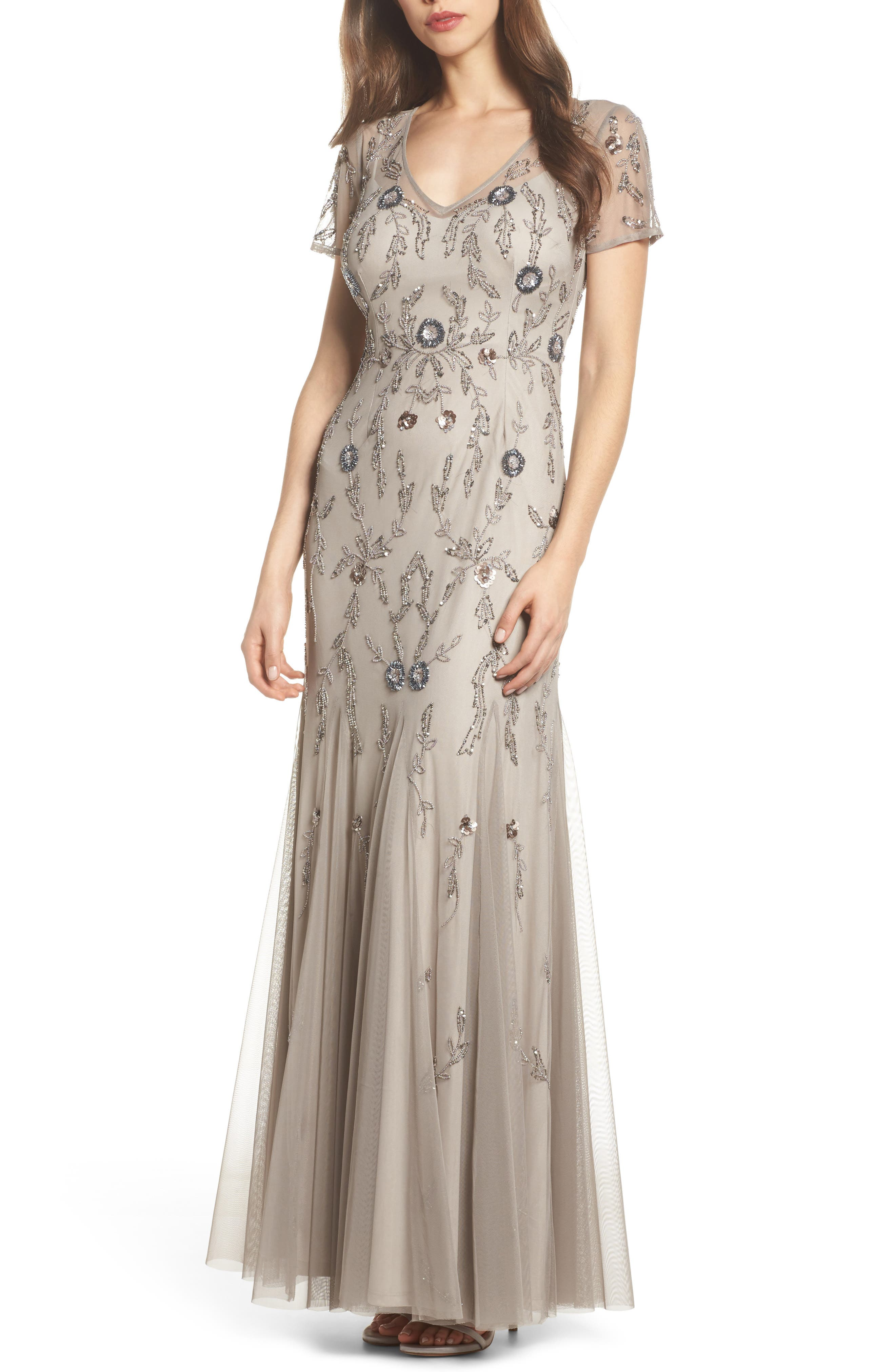 Floral Beaded Gown,                         Main,                         color, Platinum