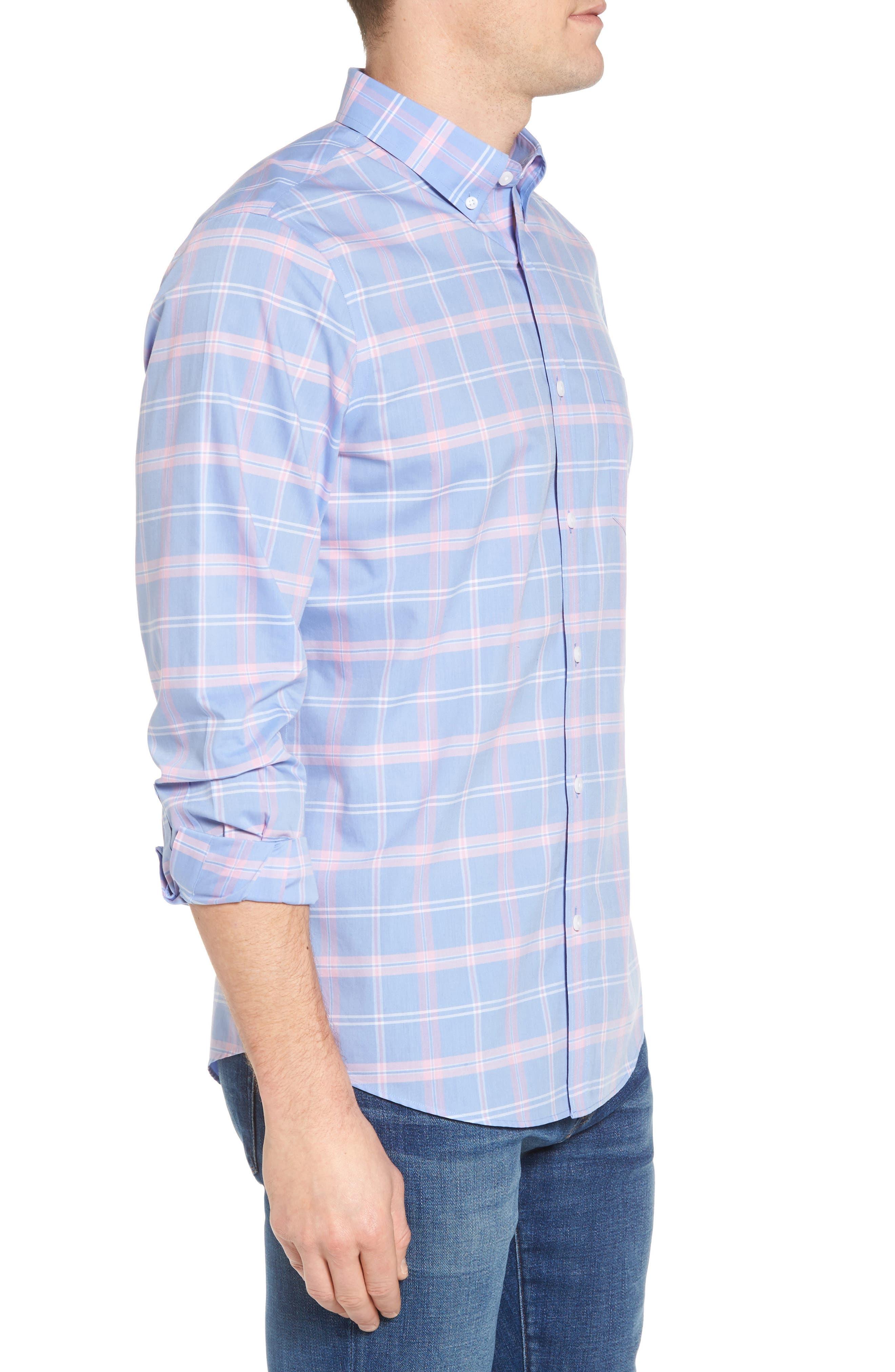 Smartcare<sup>™</sup> Regular Fit Plaid Sport Shirt,                             Alternate thumbnail 4, color,                             Blue Dusk Pink Plaid