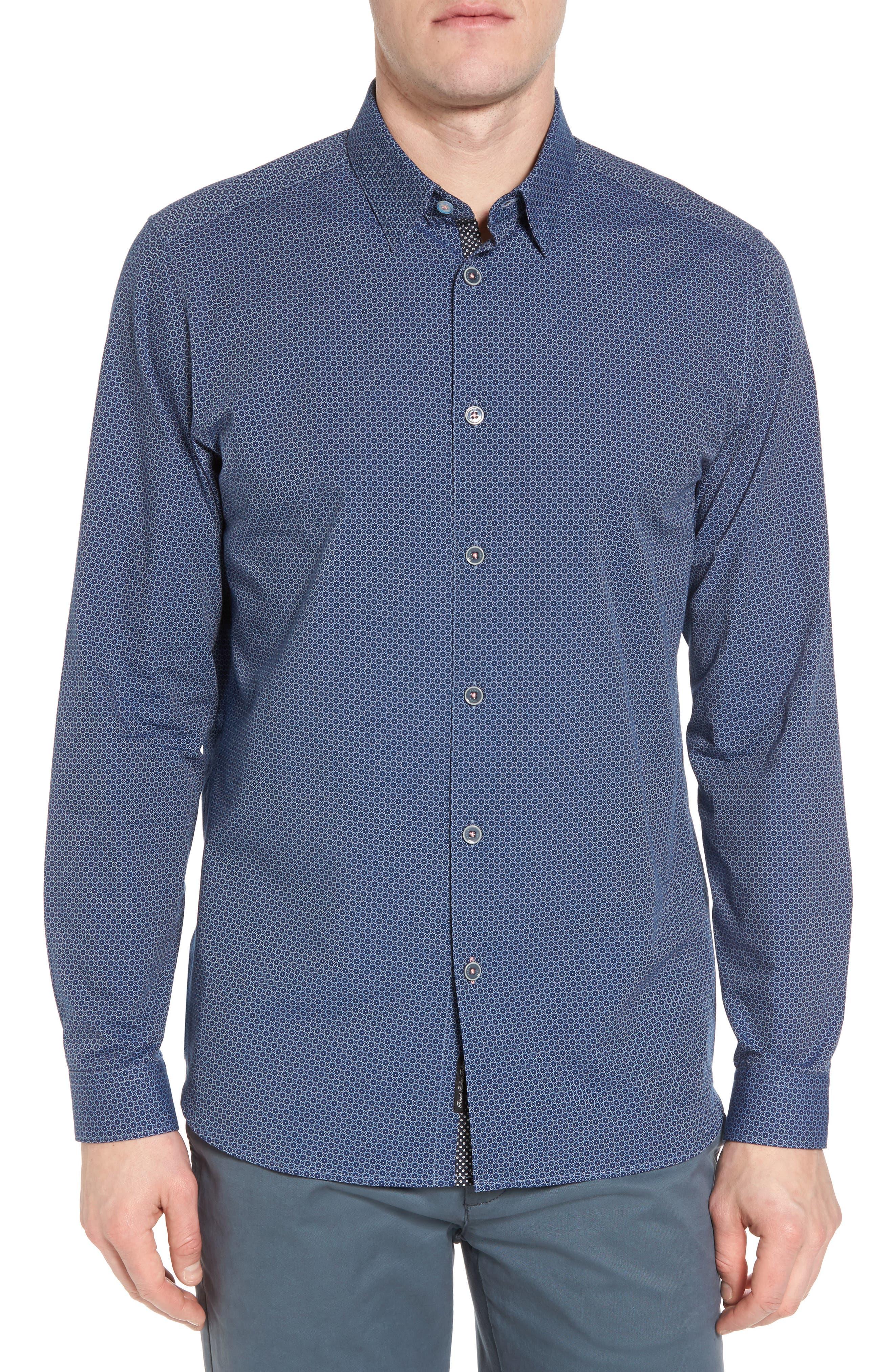 Holic Trim Fit Geometric Sport Shirt,                             Main thumbnail 1, color,                             Blue