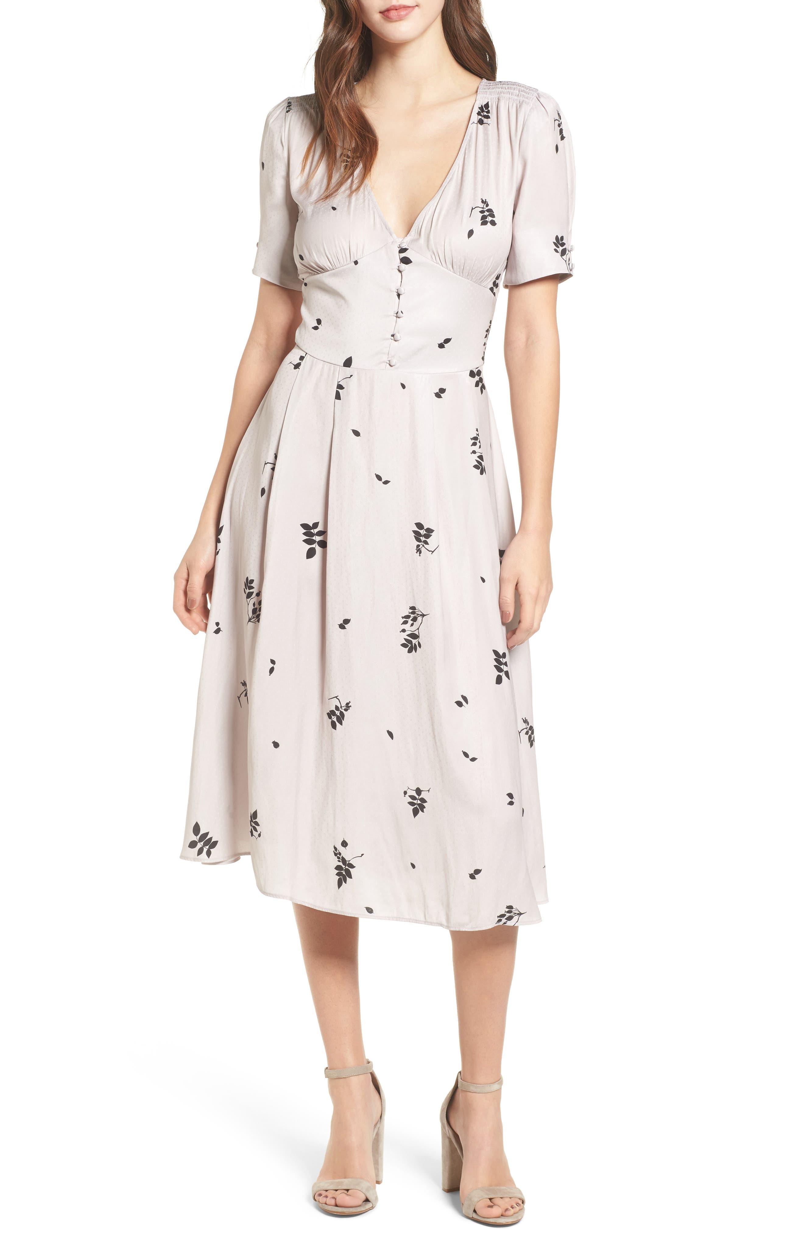 Textured Fit & Flare Midi Dress,                             Main thumbnail 1, color,                             Pink Hush Falling Leaves